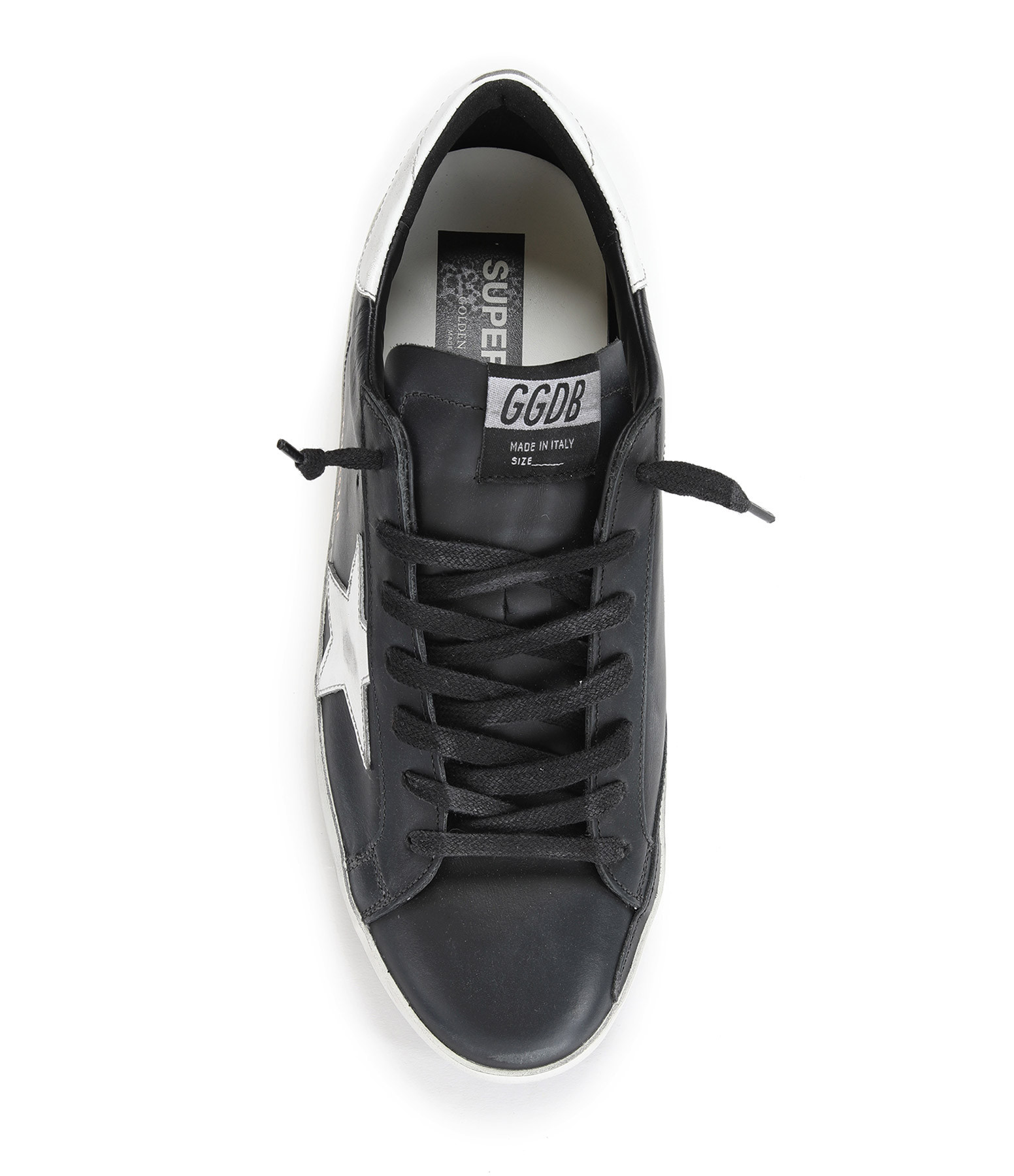 GOLDEN GOOSE - Baskets Homme Superstar Cuir Noir Blanc