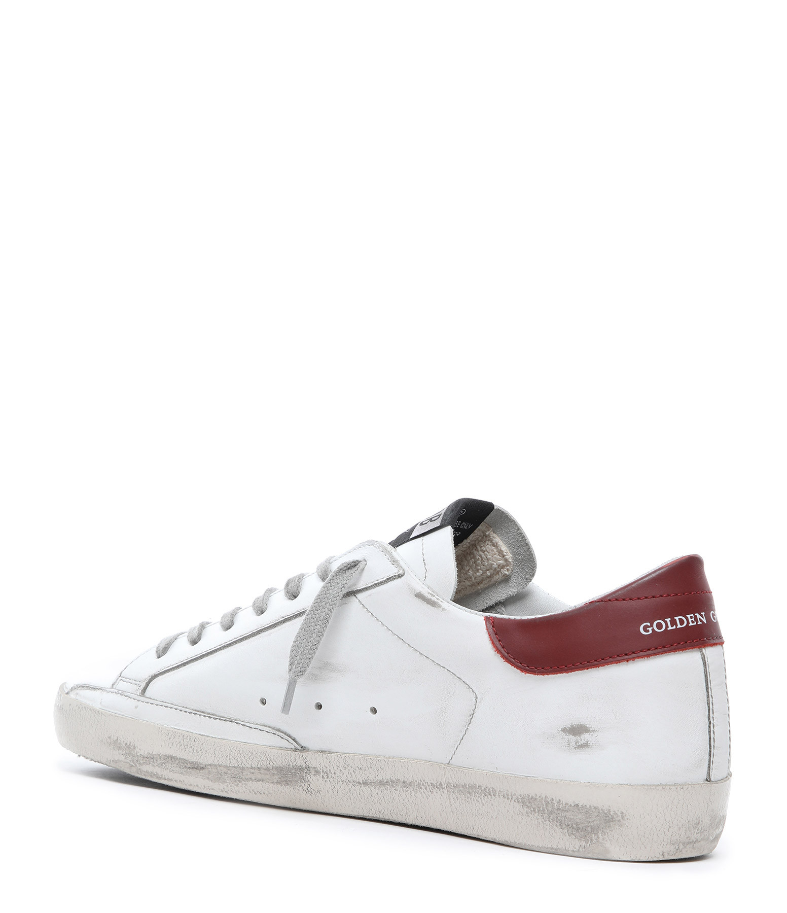GOLDEN GOOSE - Baskets Homme Superstar Cuir Suédé Bordeaux Blanc