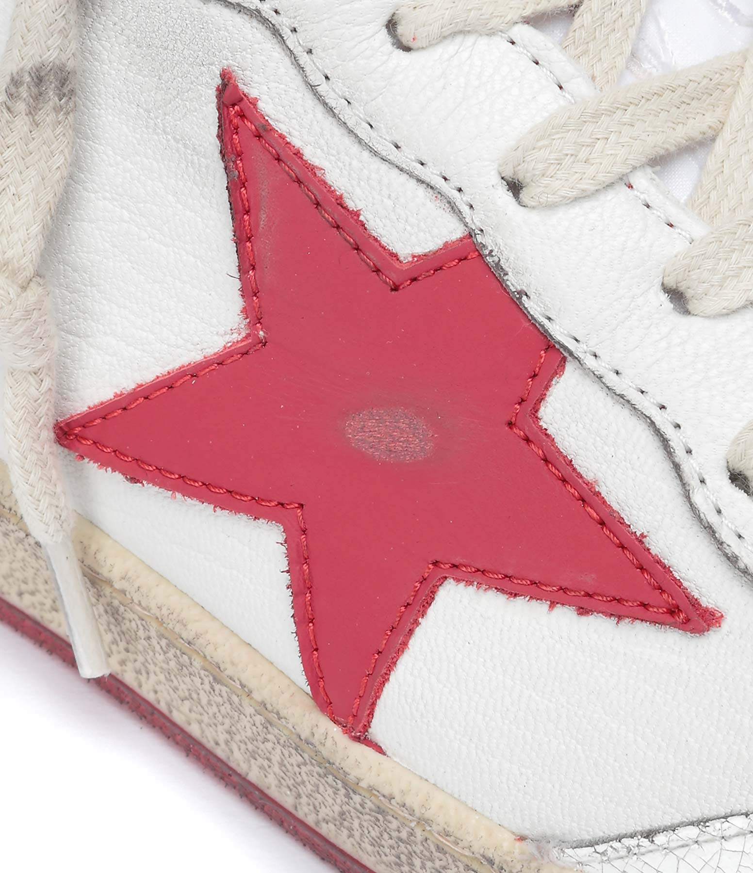 GOLDEN GOOSE - Baskets Homme Ball Star Cuir Mate Blanc Rouge