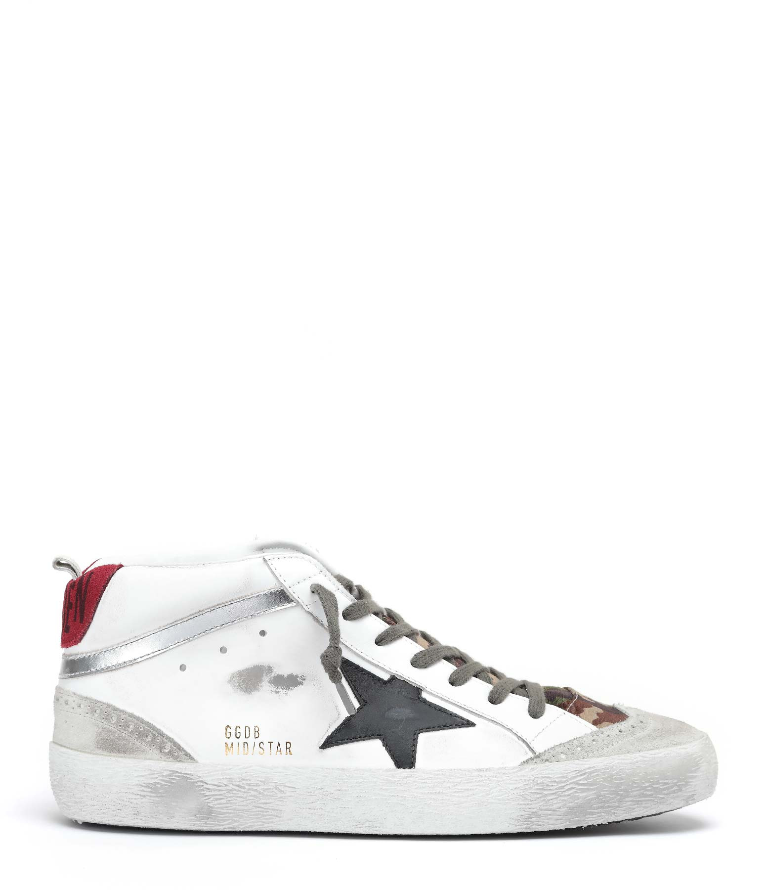 GOLDEN GOOSE - Baskets Homme Mid Star Cuir Blanc Camouflage