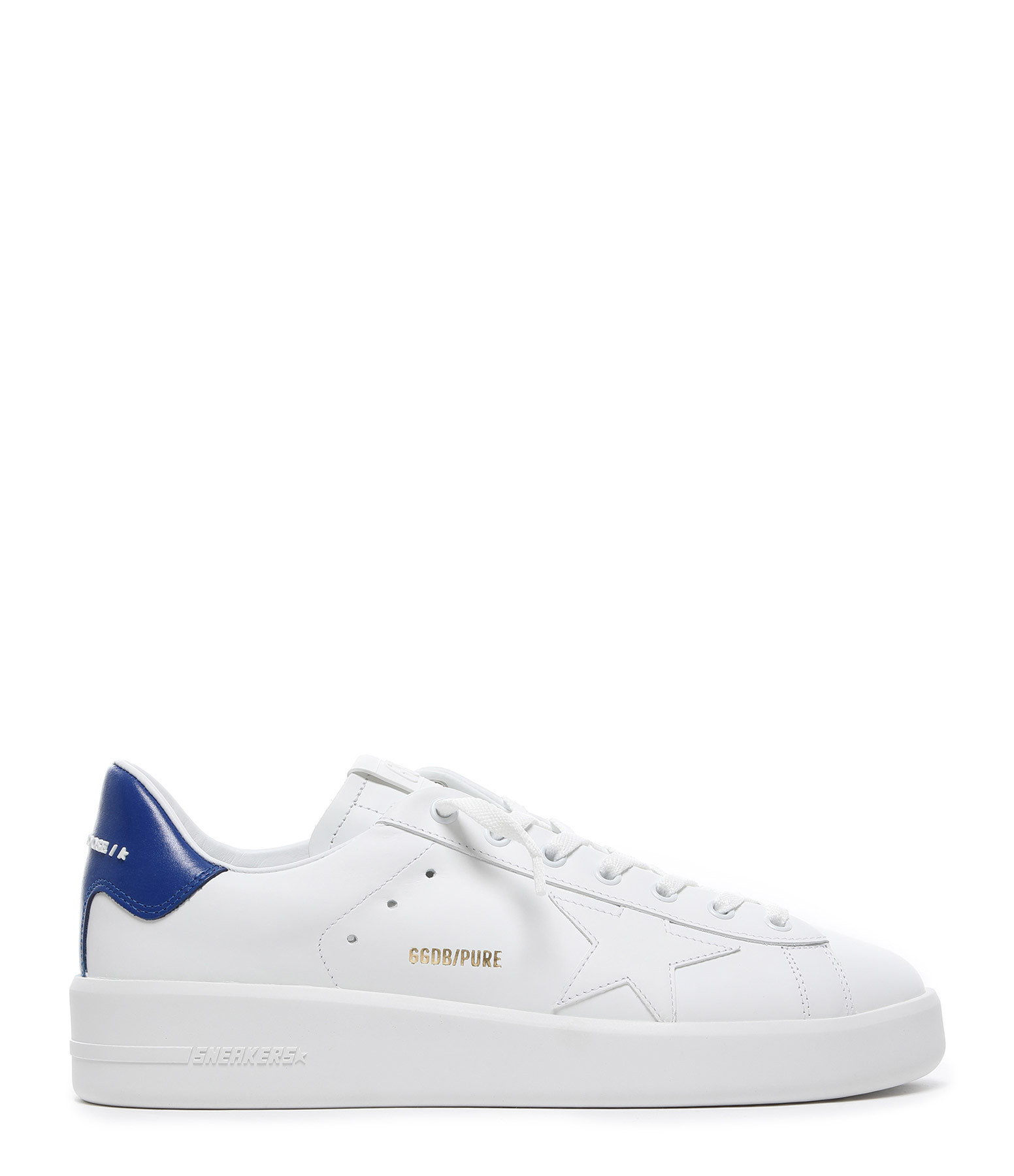 GOLDEN GOOSE - Baskets Homme Purestar Cuir Blanc Bleu
