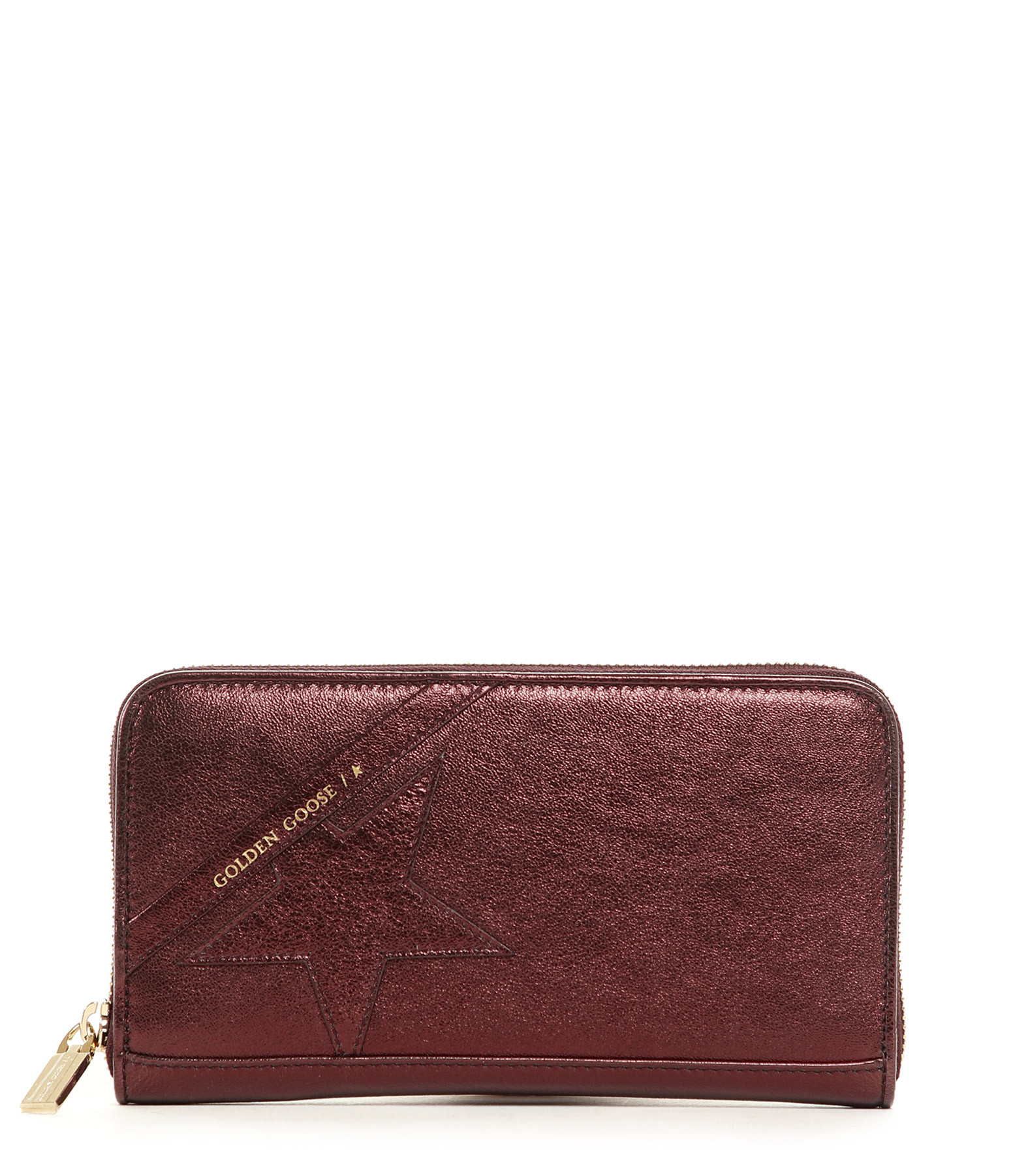 GOLDEN GOOSE - Portefeuille Star Large Cuir Aubergine