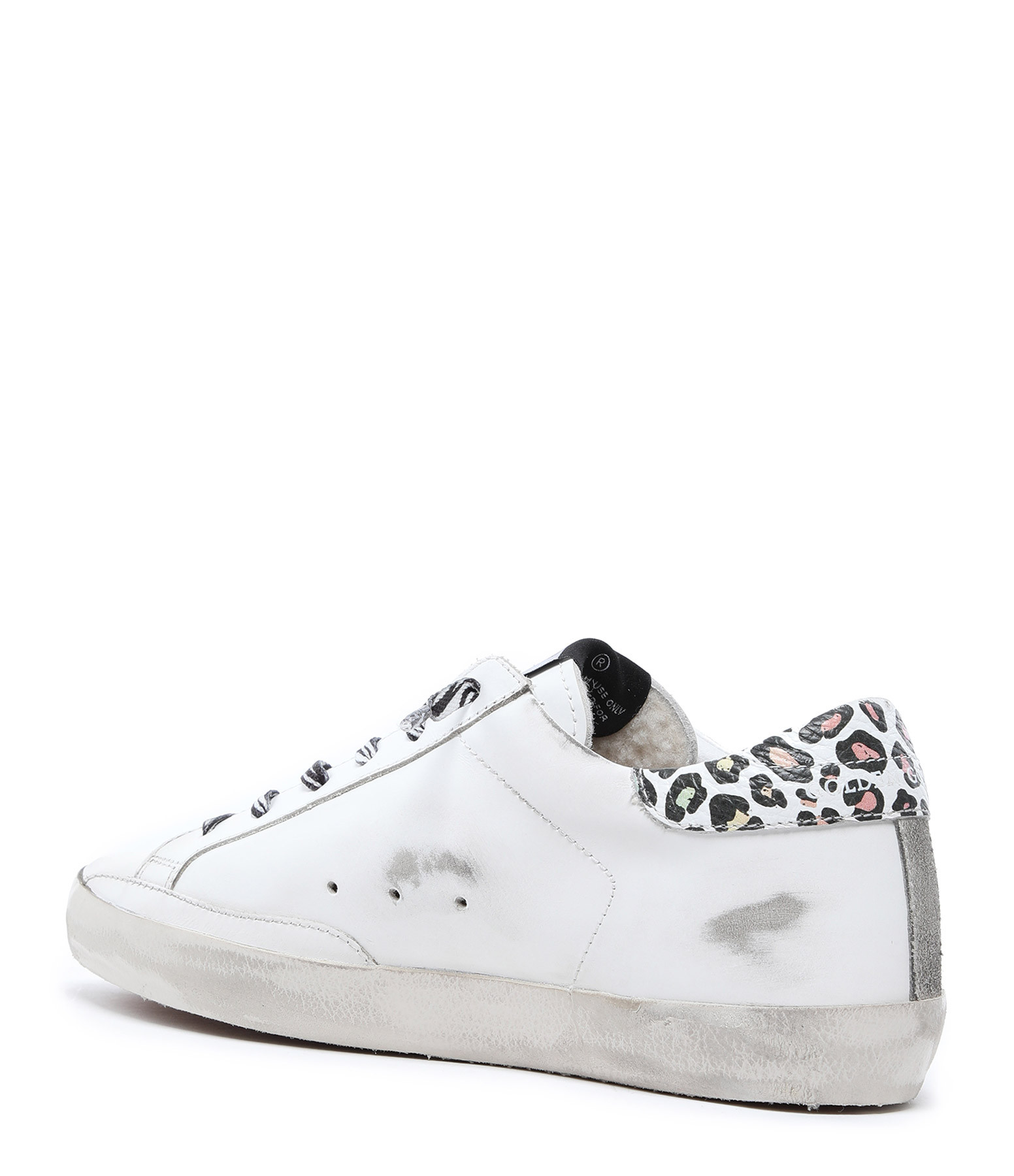 GOLDEN GOOSE - Baskets Superstar Cuir Blanc Léopard Argenté