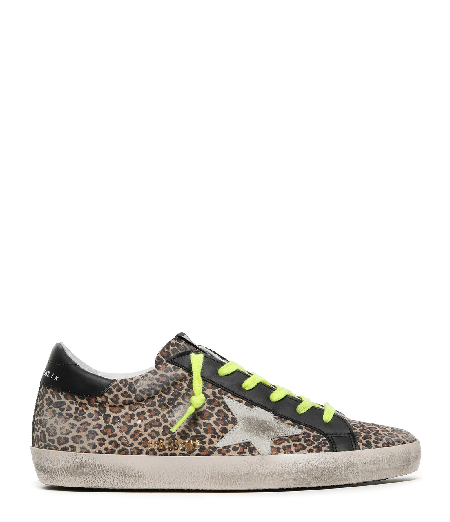 GOLDEN GOOSE - Baskets Superstar Cuir Suédé Léopard Beige
