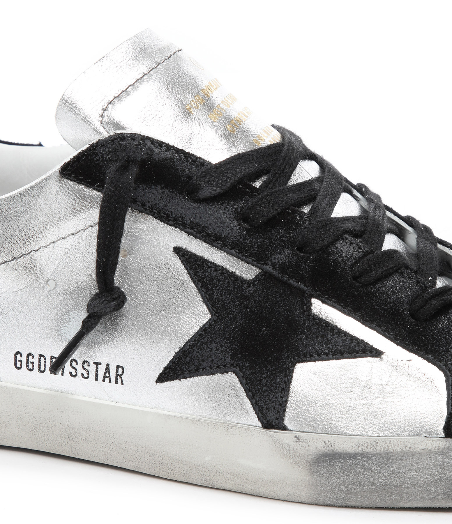 GOLDEN GOOSE - Baskets Superstar Cuir Suédé Lamé Argenté