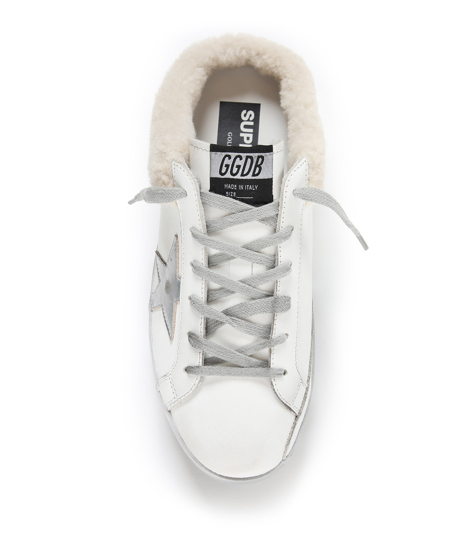 GOLDEN GOOSE - Baskets Superstar Sabot Mouton Cuir Argenté Blanc