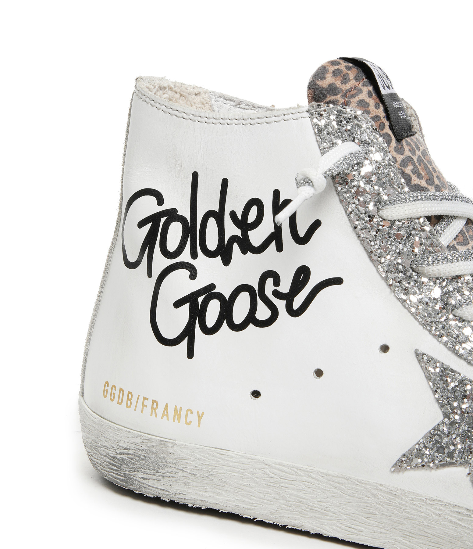 GOLDEN GOOSE - Baskets Francy GGDB Cuir Blanc Argenté
