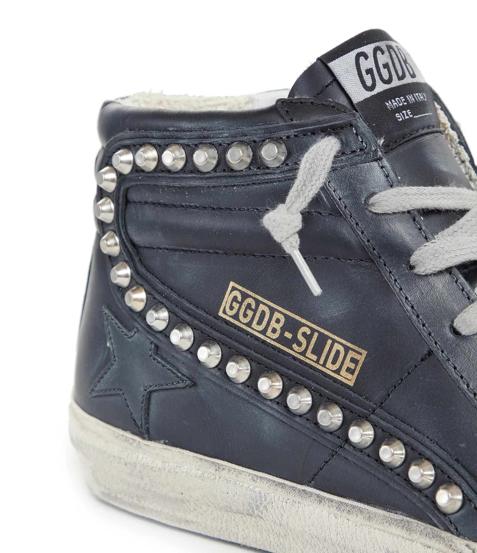 GOLDEN GOOSE - Baskets Slide Cuir Clous Noir