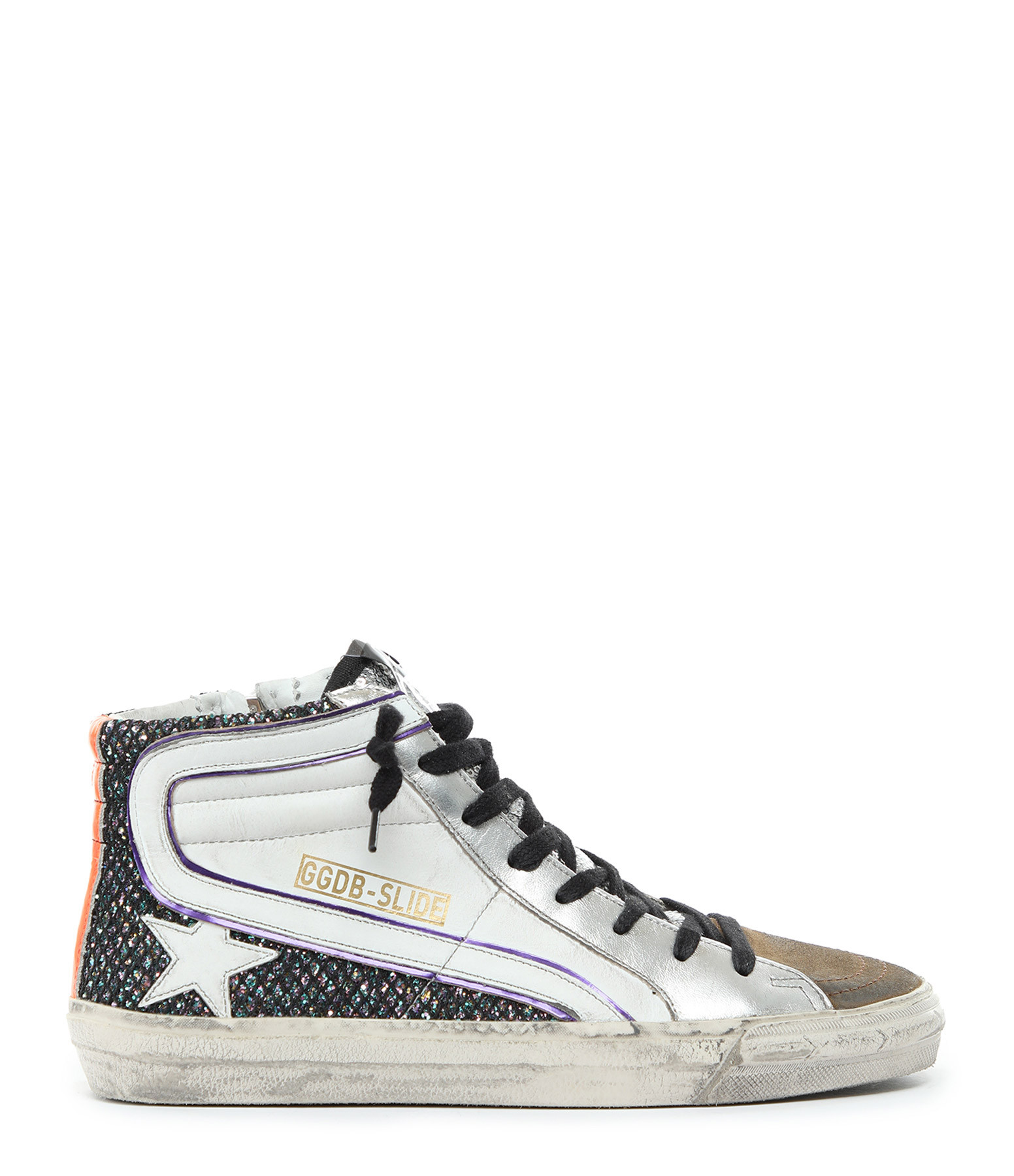 GOLDEN GOOSE - Baskets Slide Cuir Blanc Multicolore