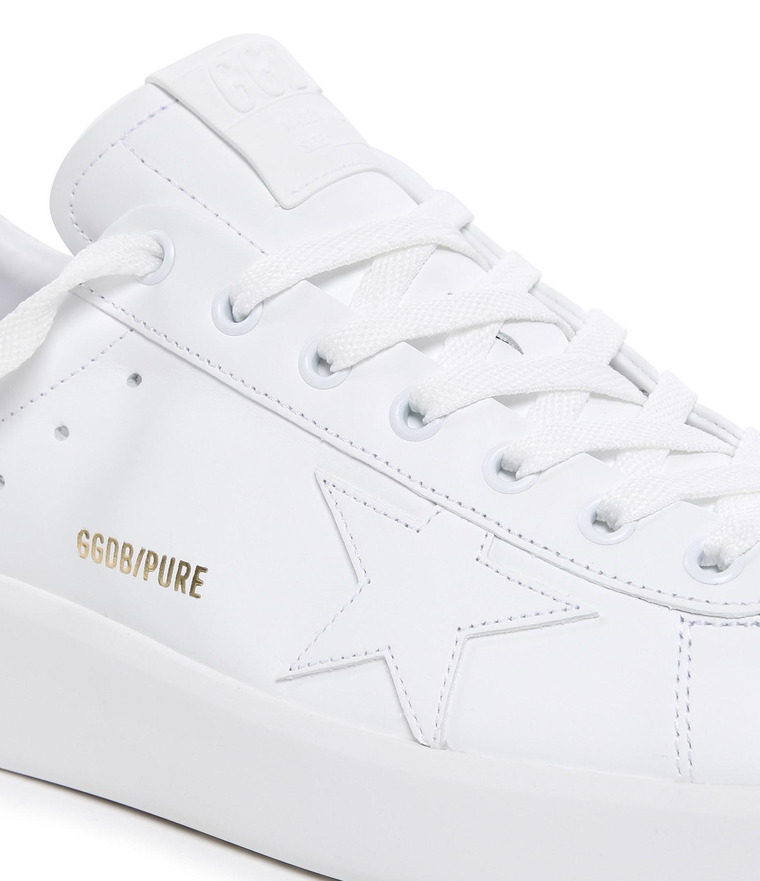 GOLDEN GOOSE - Baskets Purestar Cuir Blanc Horsy Léopard