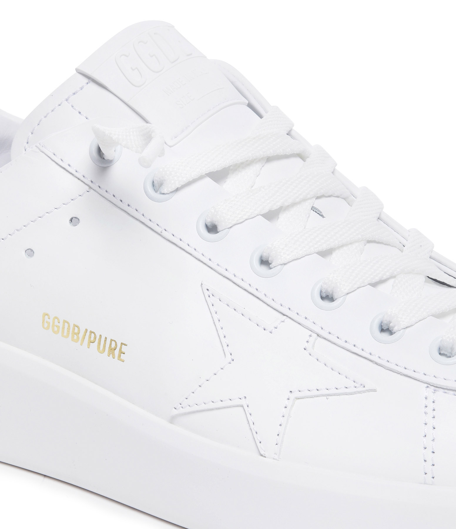 GOLDEN GOOSE - Baskets Pure Star Cuir Blanc Doré