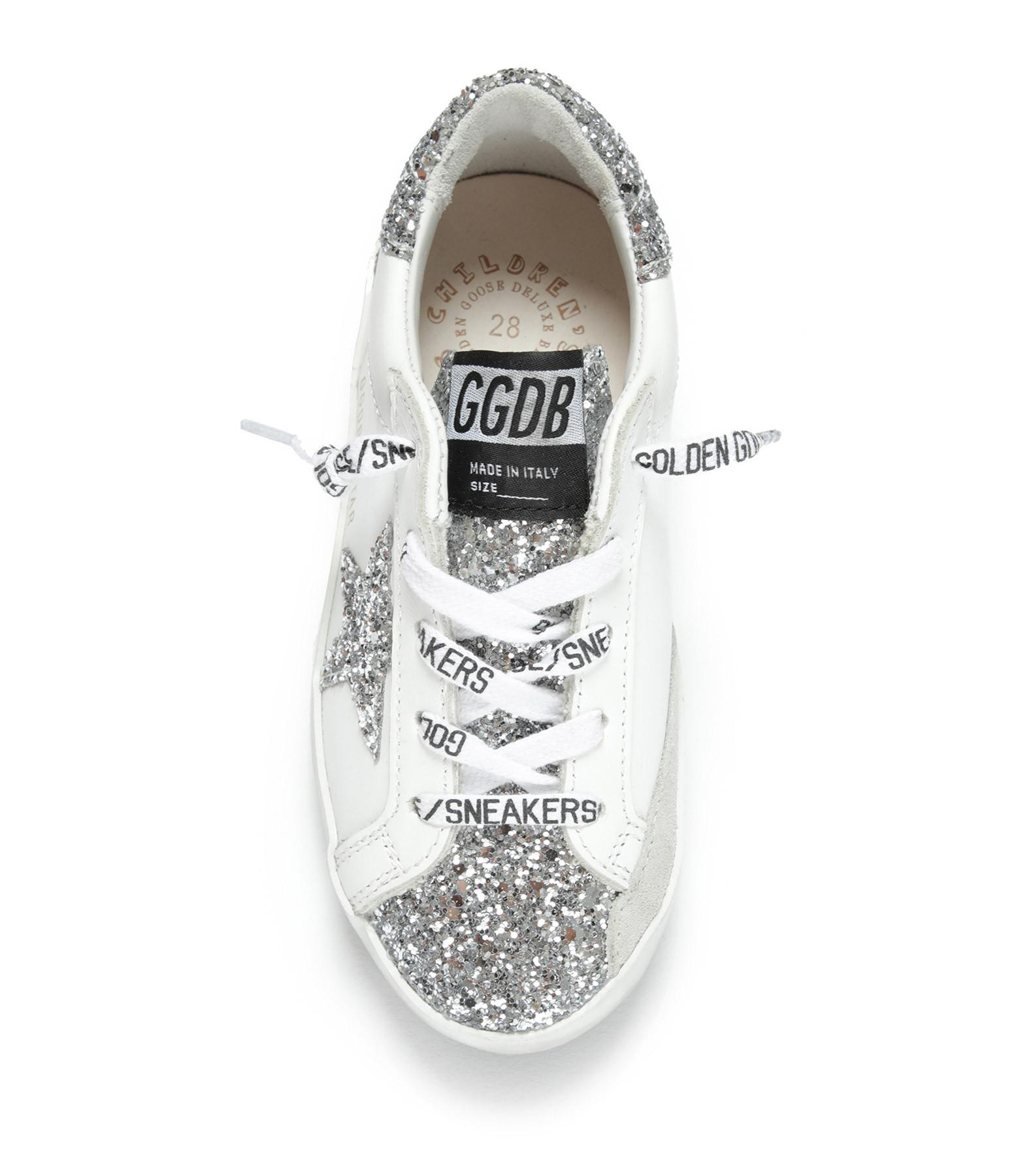 GOLDEN GOOSE - Baskets Enfant Superstar Cuir Glitter Blanc