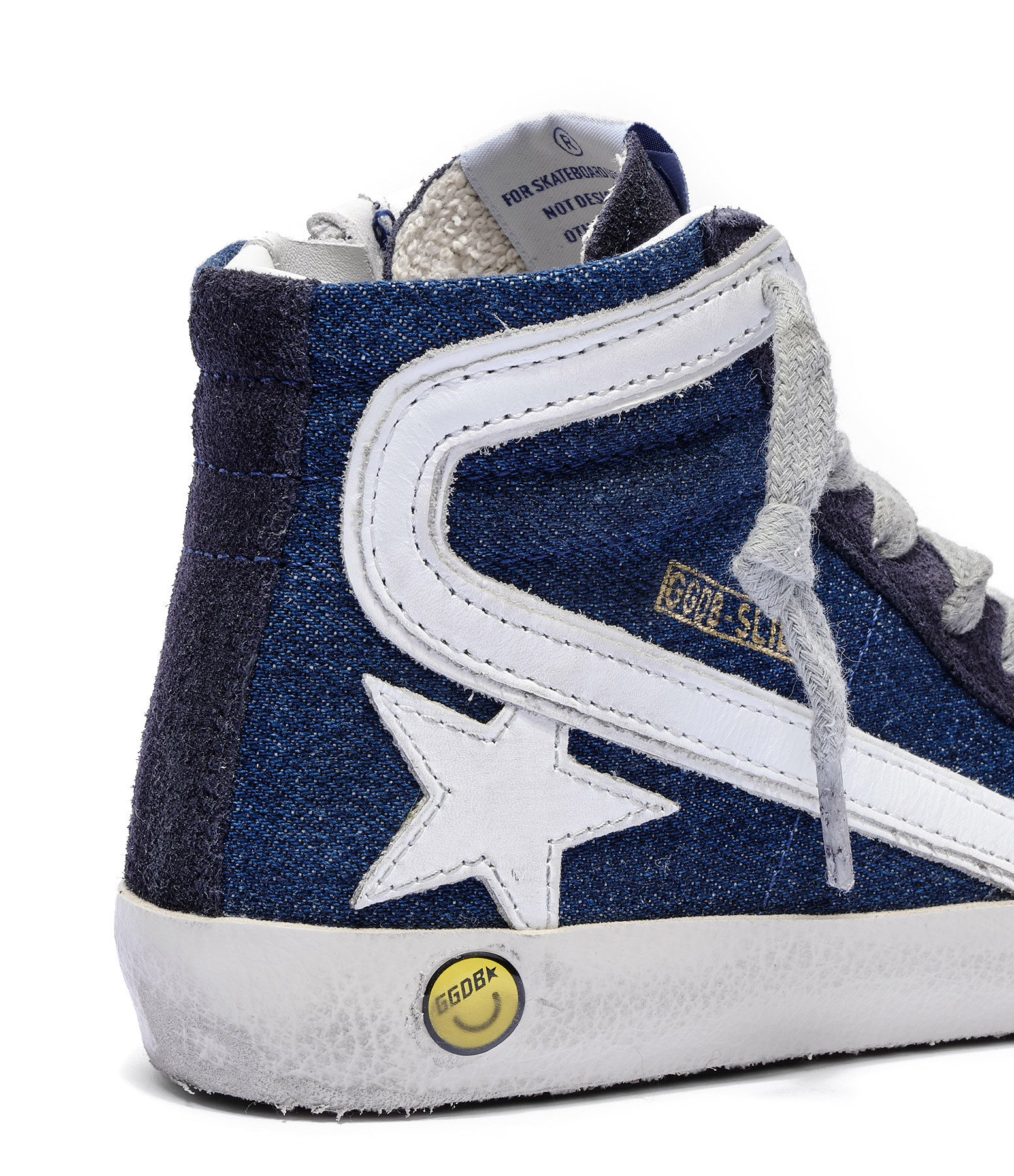 GOLDEN GOOSE - Baskets Enfant Slide Cuir Bleu Denim