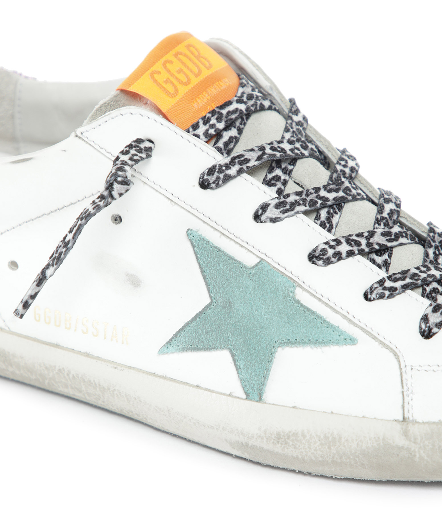 GOLDEN GOOSE - Baskets Superstar Cuir Suédé Blanc Bleu