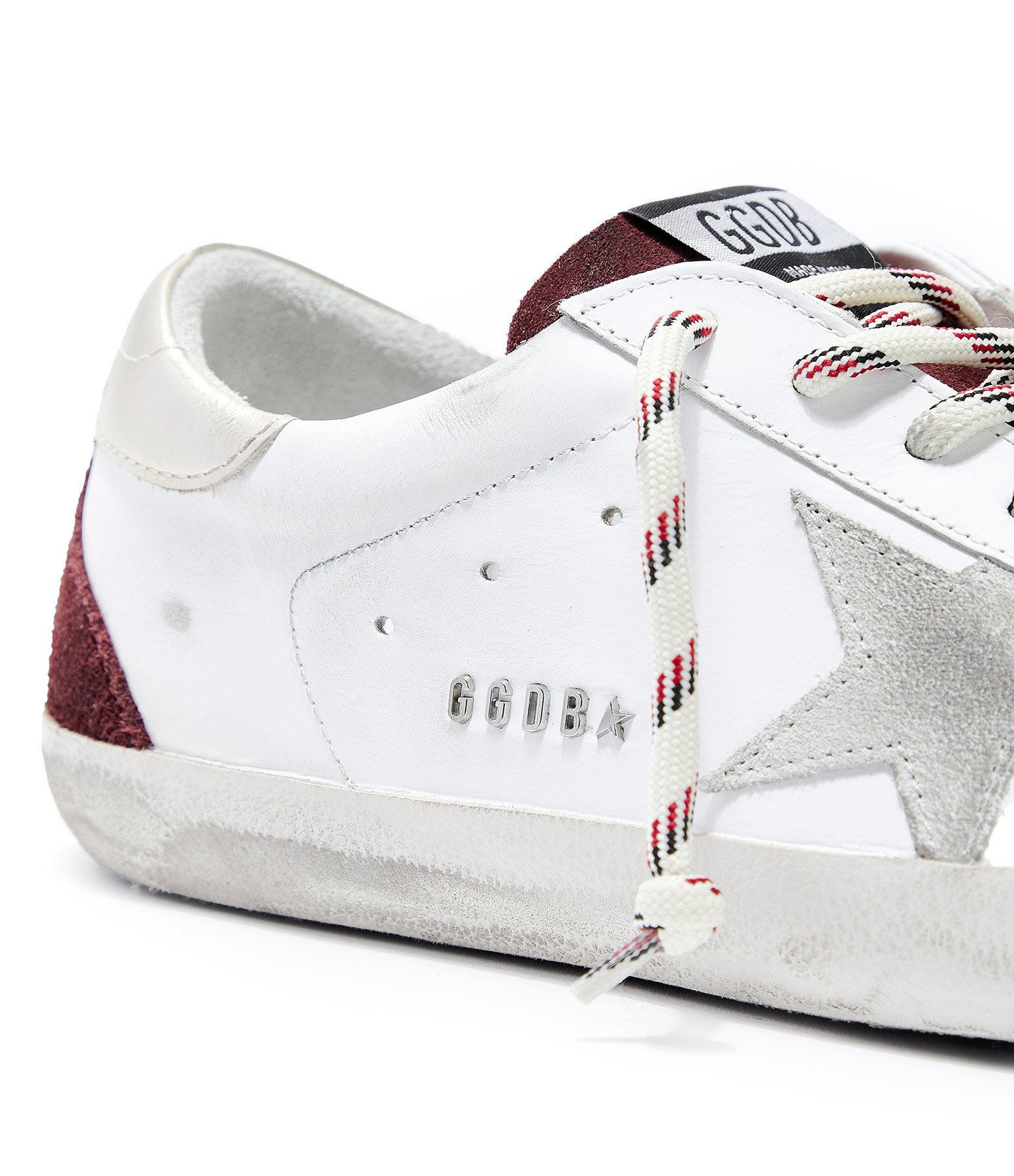 GOLDEN GOOSE - Baskets Homme Superstar Cuir Blanc Rouge