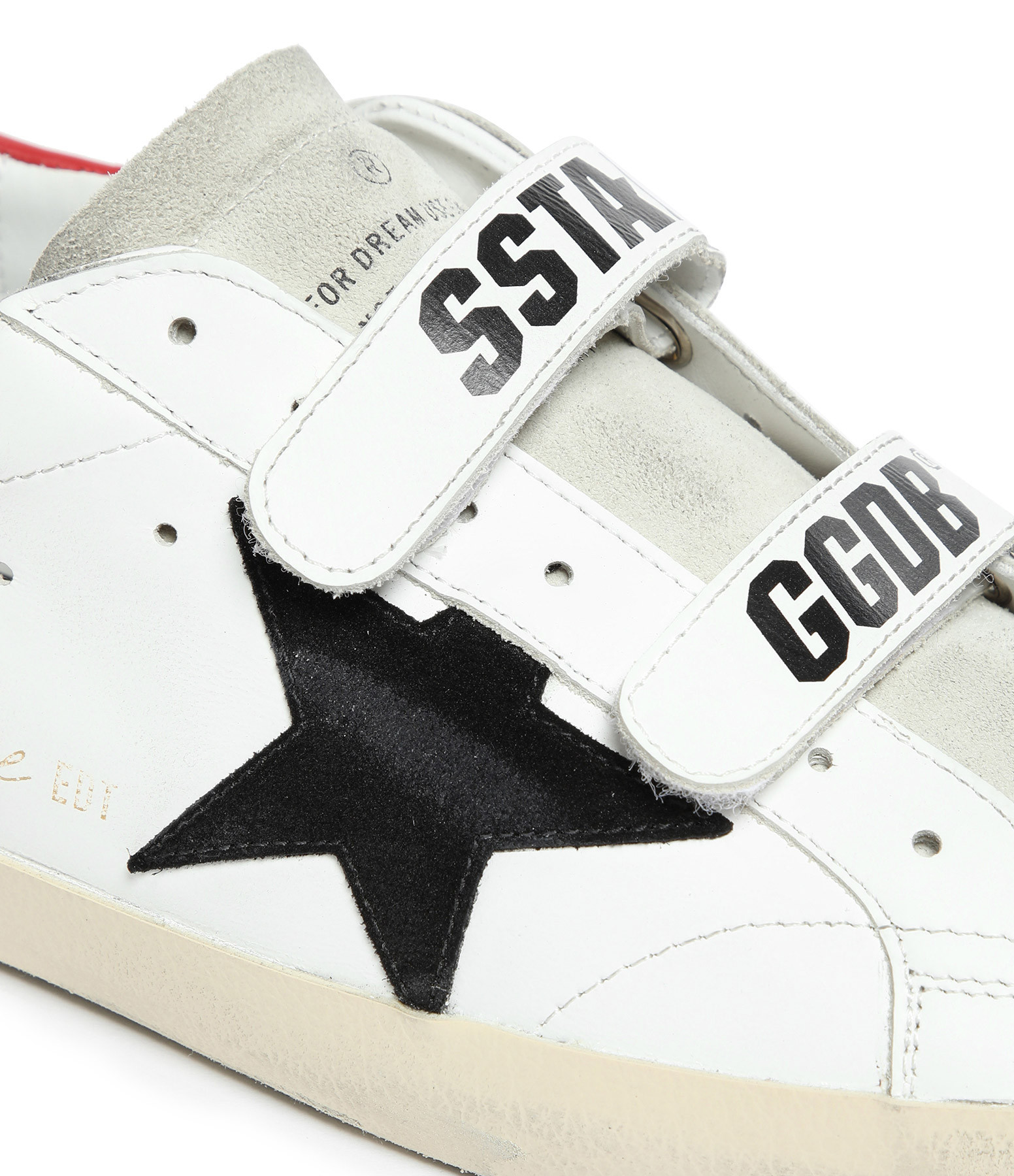GOLDEN GOOSE - Baskets Homme Old School Cuir Blanc Rouge