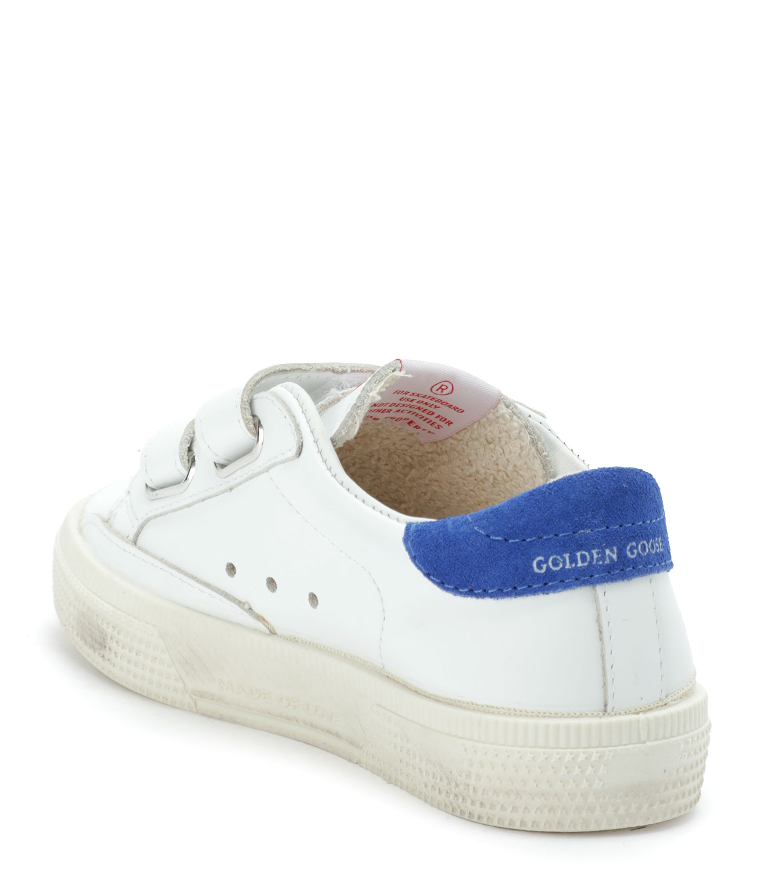 GOLDEN GOOSE - Baskets Bébé May School Cuir Suédé Navy Bleu Roi