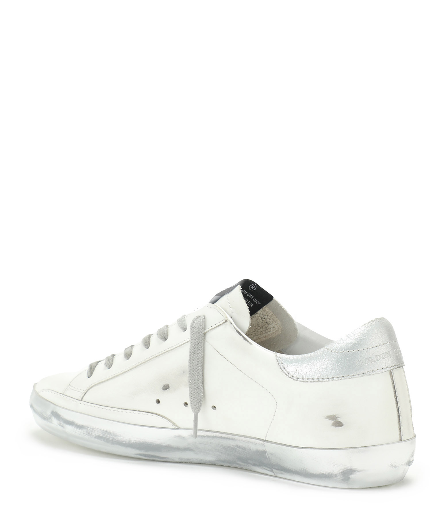 GOLDEN GOOSE - Baskets Homme Superstar Cuir Laminé Blanc Argenté
