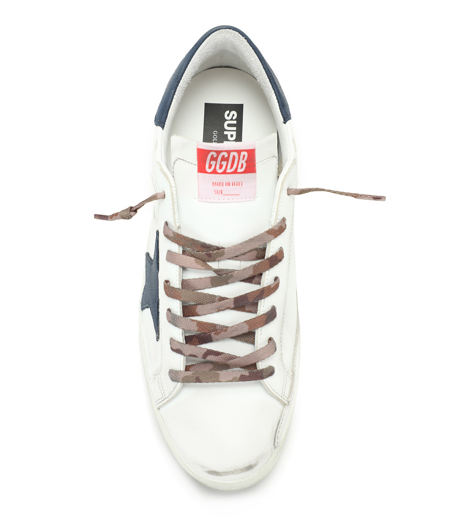 GOLDEN GOOSE - Baskets Homme Superstar Cuir Nubuck Blanc Bleu Nuit