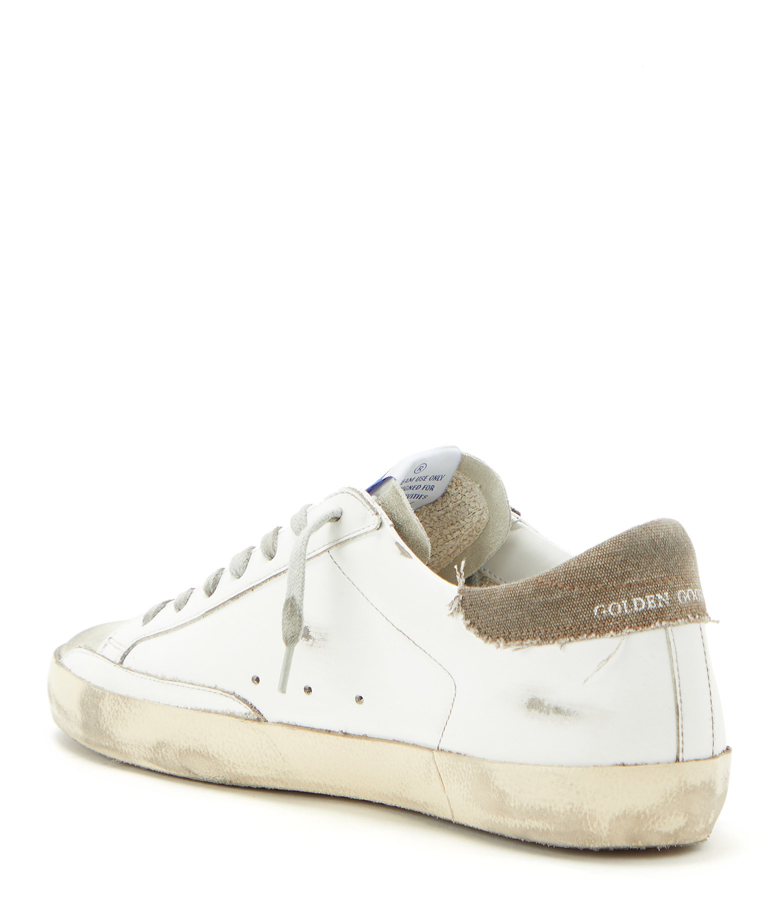 GOLDEN GOOSE - Baskets Homme Superstar Cuir Suédé Beige Argenté