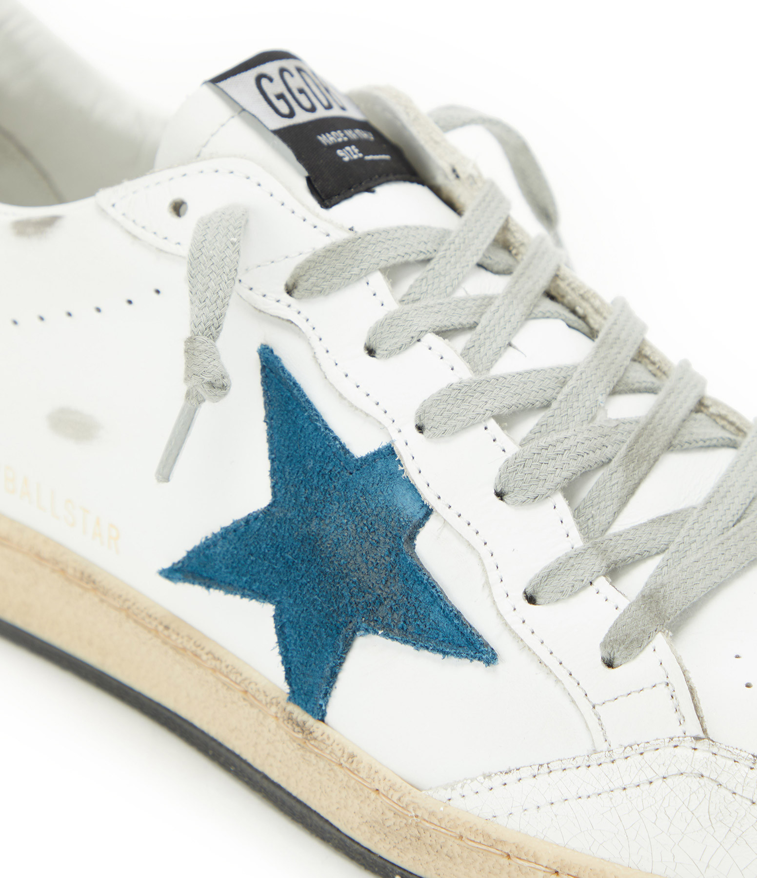 GOLDEN GOOSE - Baskets Homme Ball Star Cuir Suédé Bleu Blanc