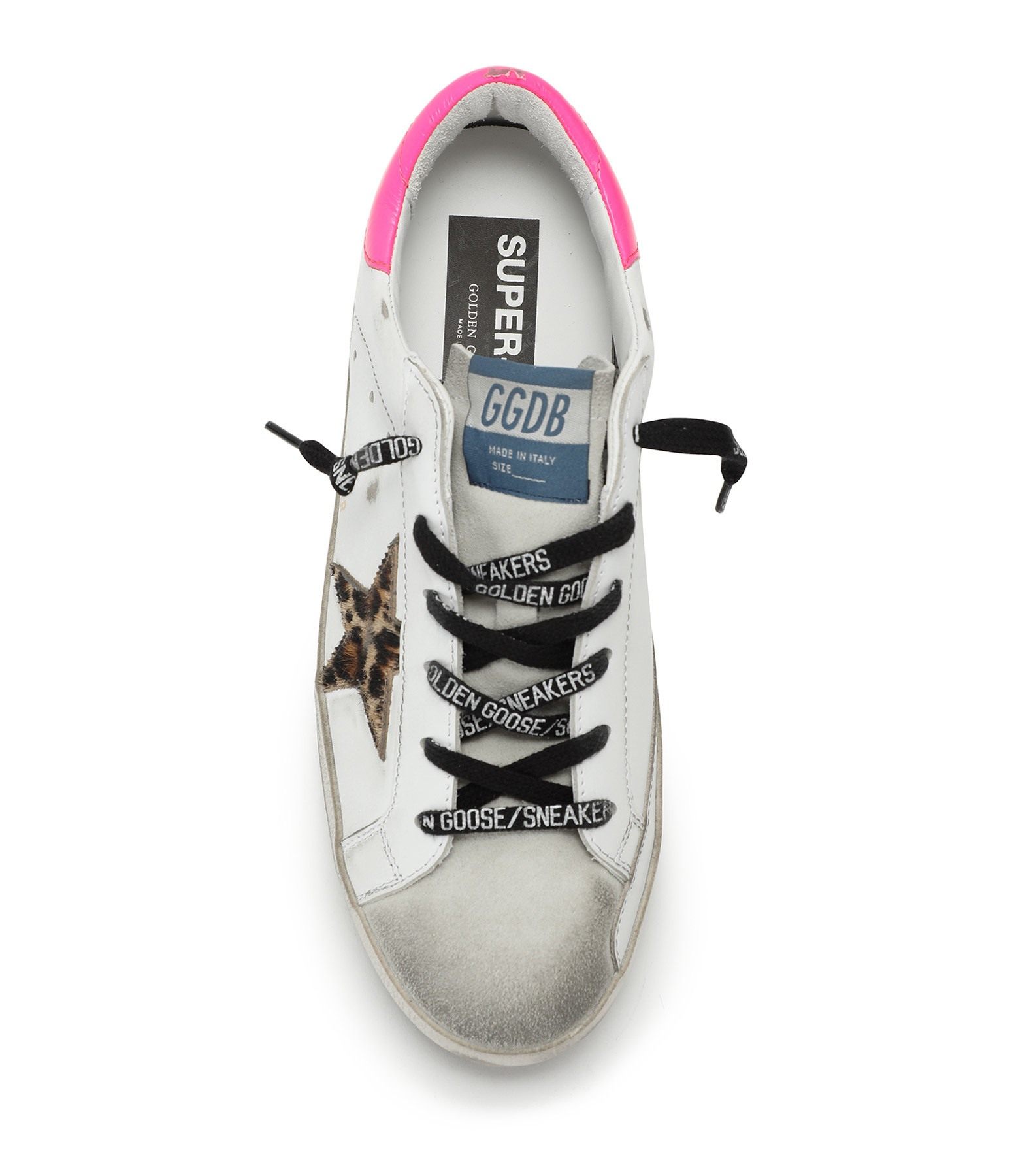 GOLDEN GOOSE - Baskets Superstar Cuir Fushia Fluo Horsy Léopard