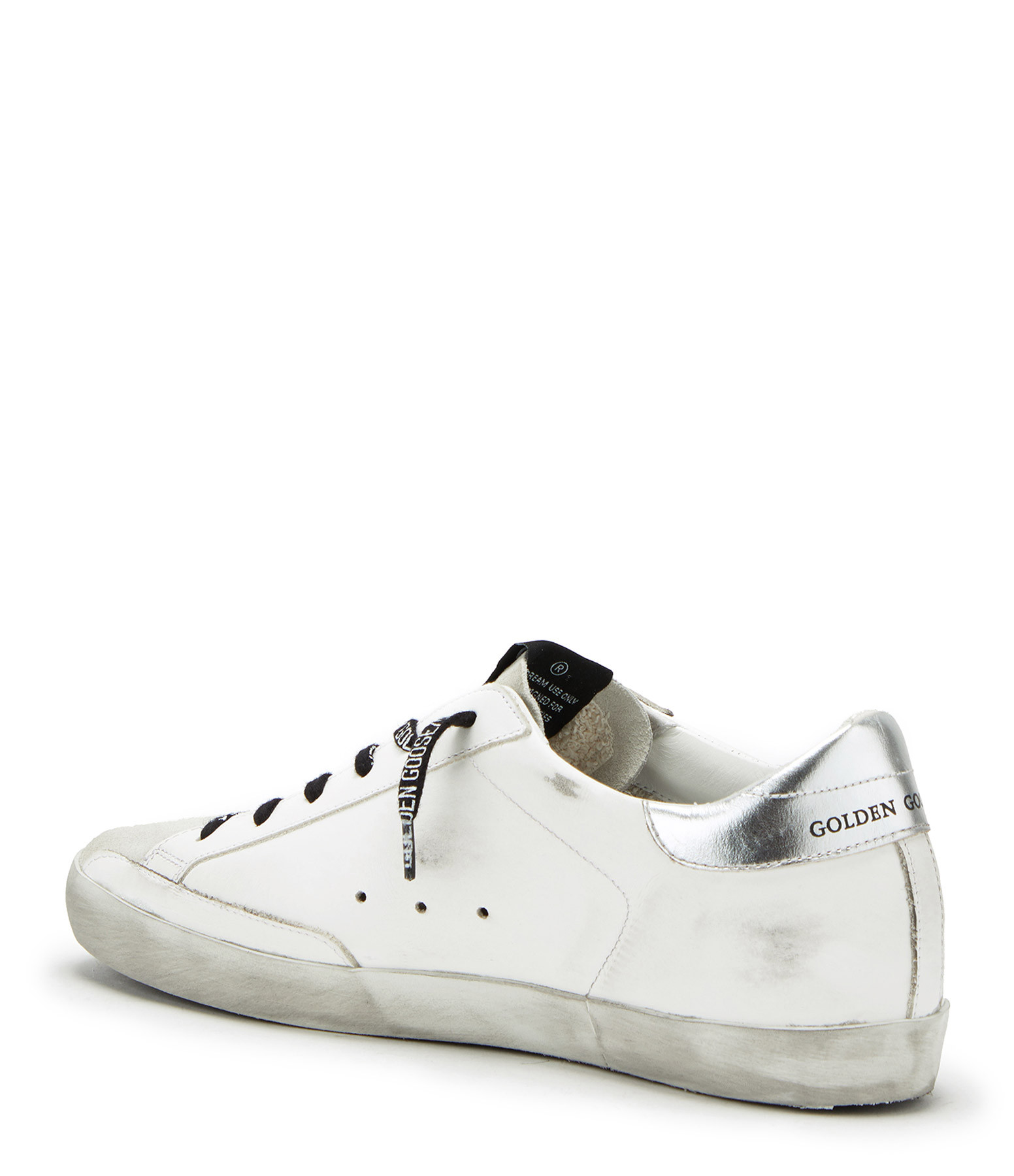 GOLDEN GOOSE - Baskets Superstar Cuir Laminé Blanc Argenté