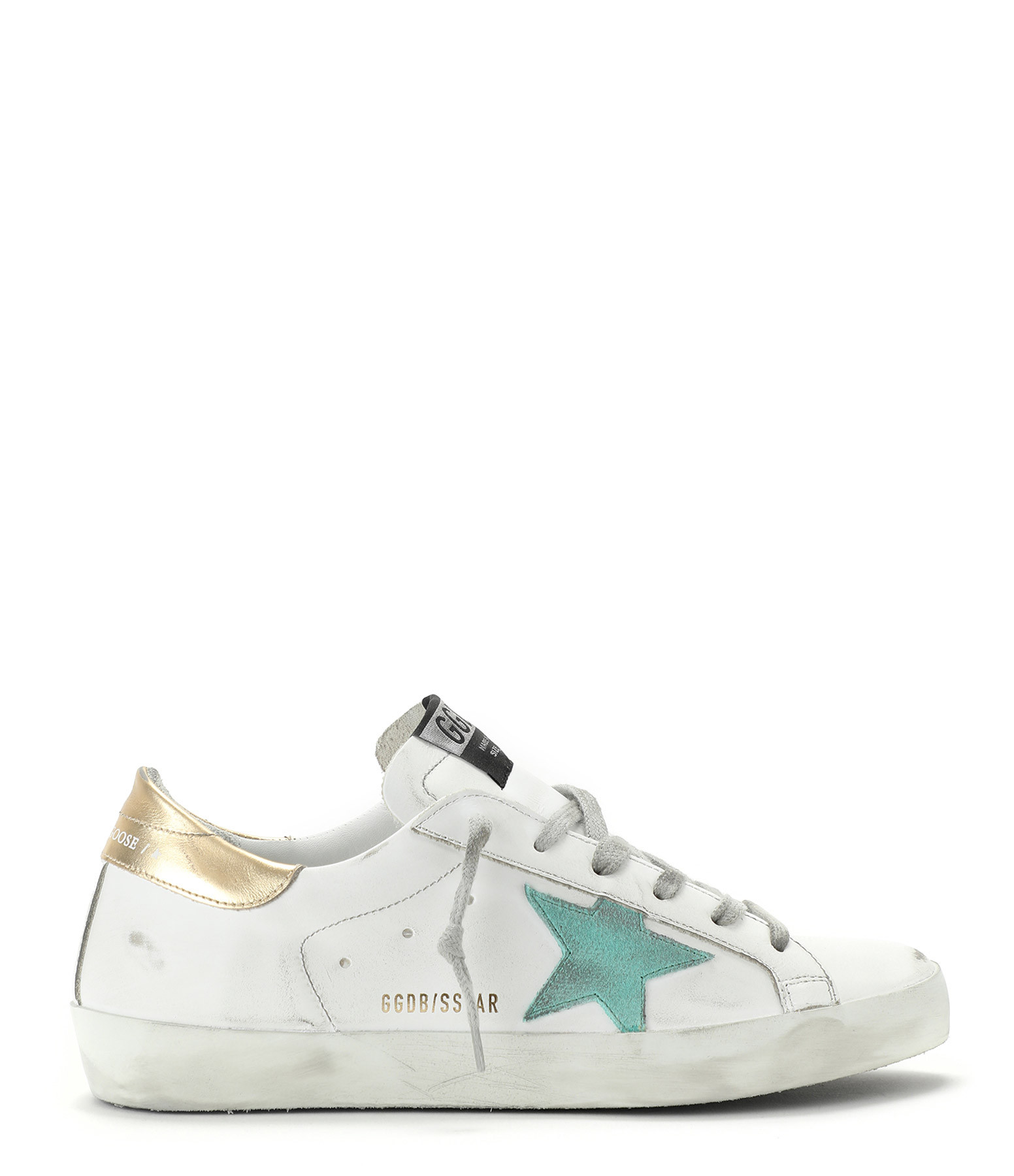 GOLDEN GOOSE - Baskets Superstar Cuir Suédé Vert Doré