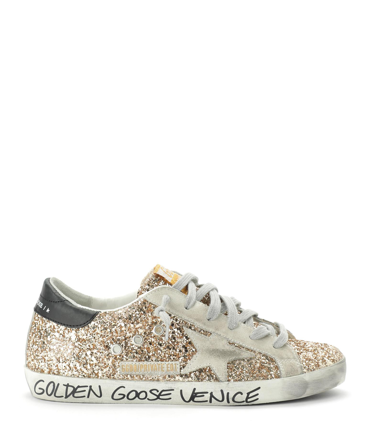 GOLDEN GOOSE - Baskets Superstar Cuir Glitter Signature Doré, Exclusivité Lulli