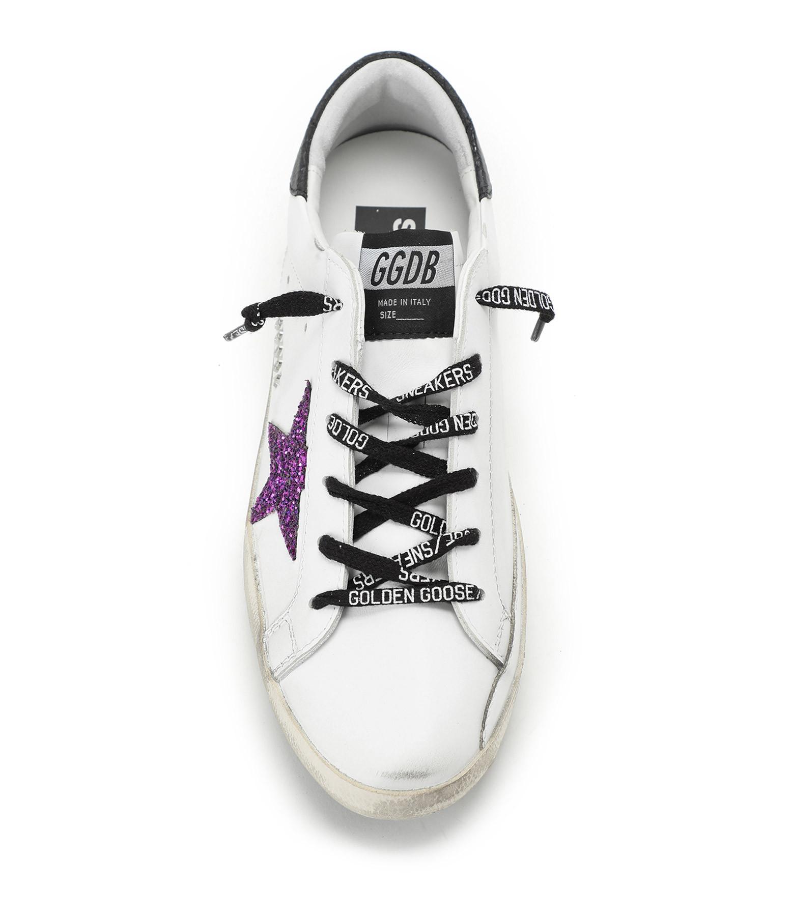 GOLDEN GOOSE - Baskets Superstar Cuir Glitter Violet Noir