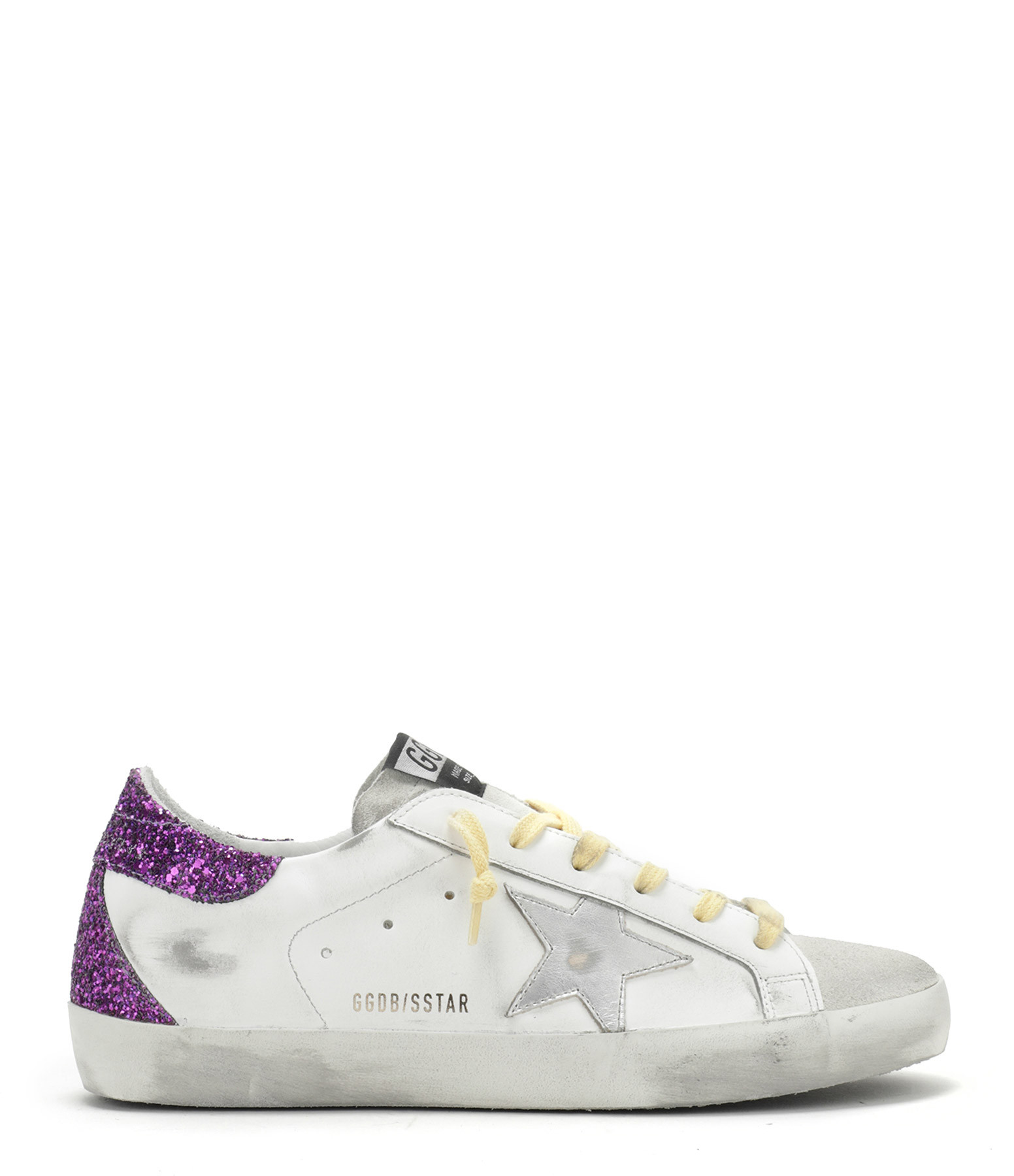 GOLDEN GOOSE - Baskets Superstar Cuir Glitter Violet Argenté