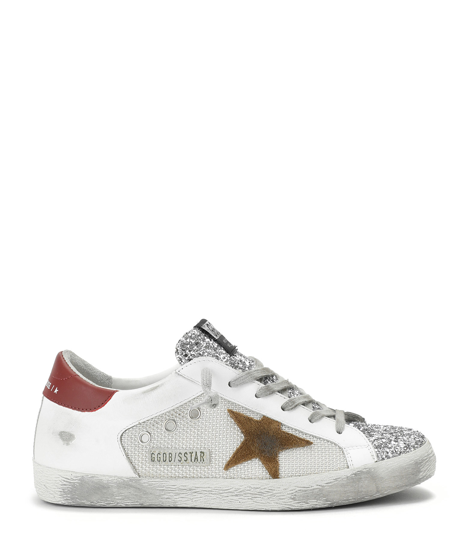 GOLDEN GOOSE - Baskets Superstar Cuir Suédé Glitter Tabac Rouge