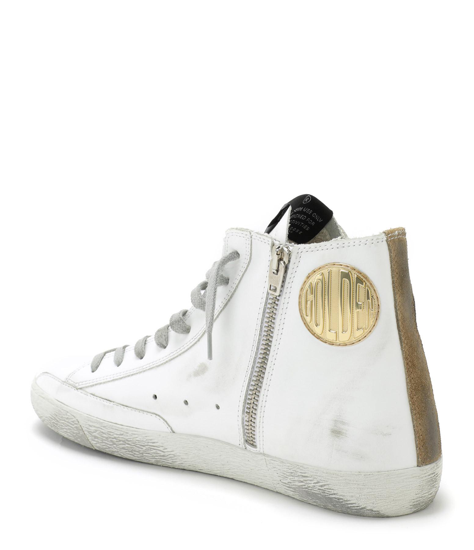 GOLDEN GOOSE - Baskets Francy Cuir Suédé Glitter Tabac Aquamarine
