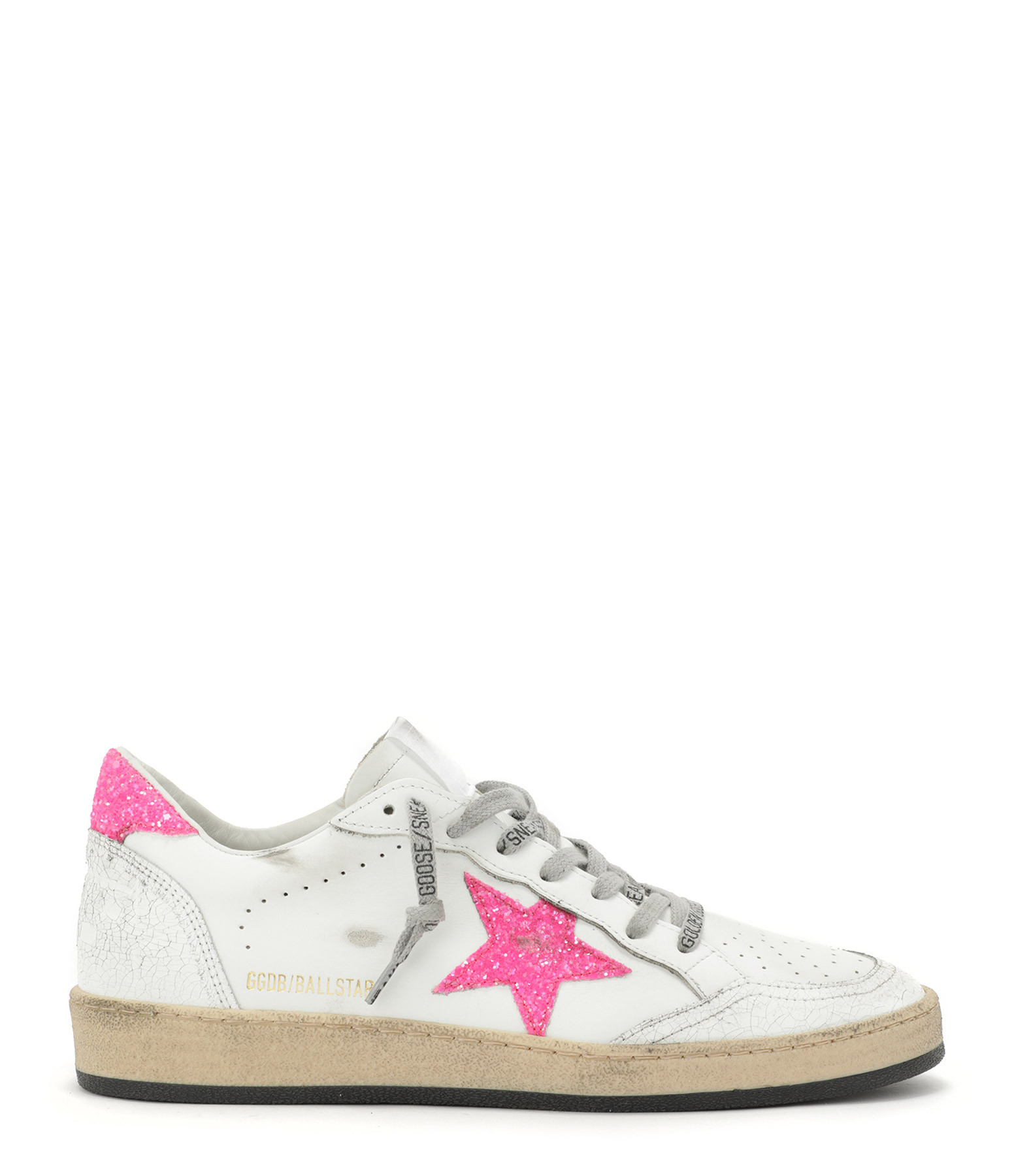 GOLDEN GOOSE - Baskets Ball Star Cuir Glitter Blanc Rose Fluo