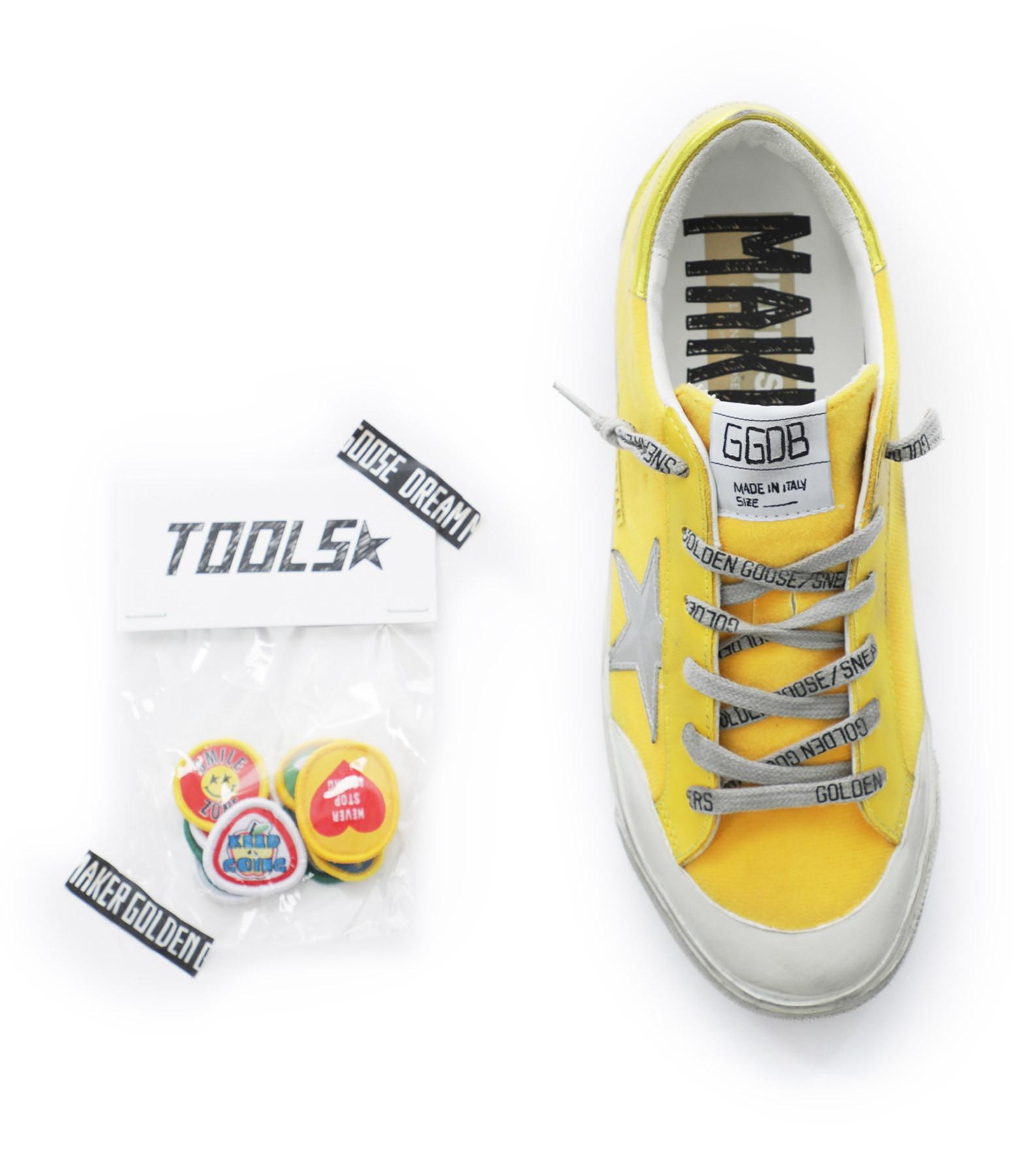 GOLDEN GOOSE - Baskets Superstar 3D Patches Cuir Suédé Jaune Multicolore