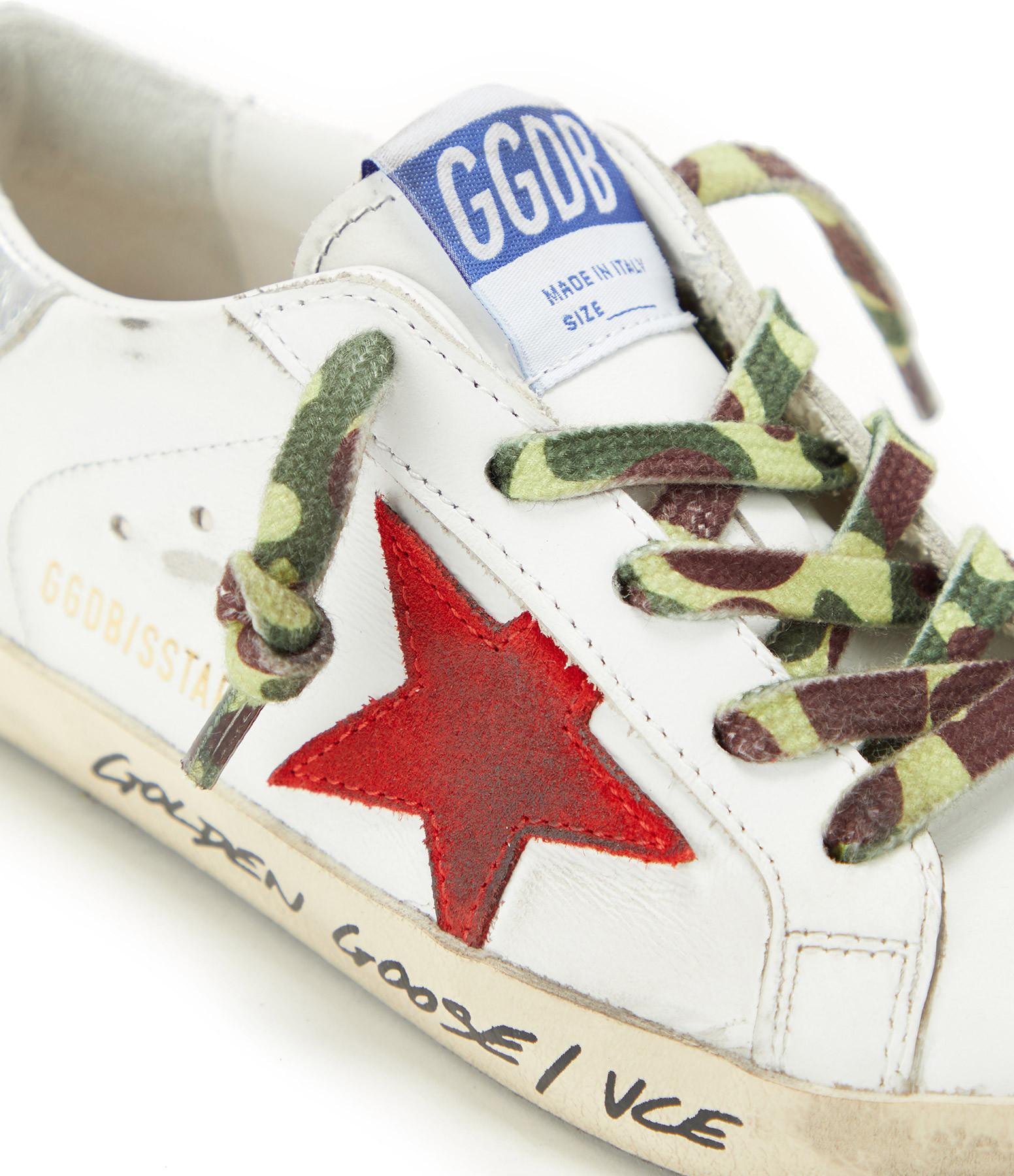GOLDEN GOOSE - Baskets Enfant Superstar Cuir Signature Rubis Argenté
