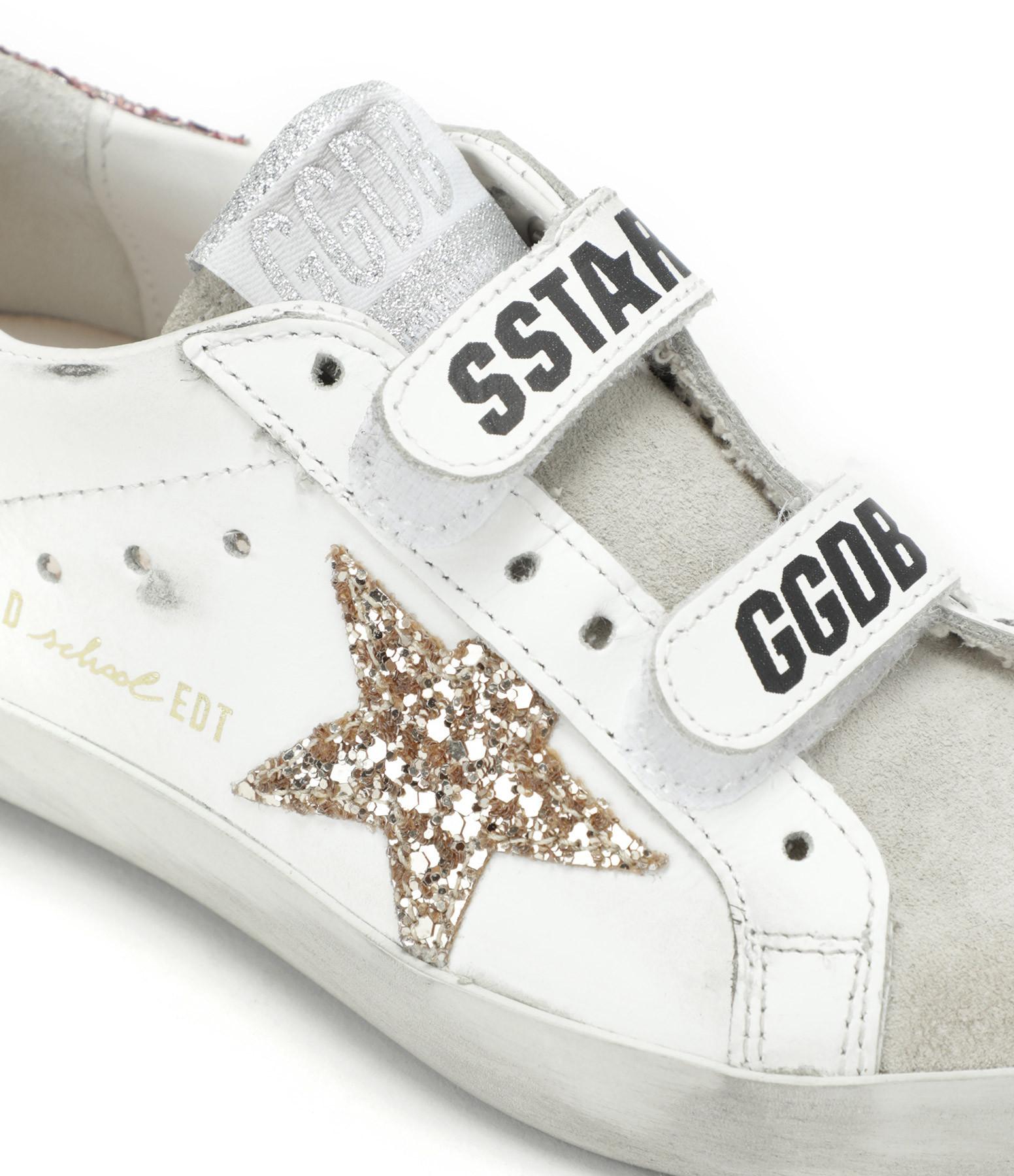 GOLDEN GOOSE - Baskets Enfant Old School Cuir Suédé Glitter Saumon Doré