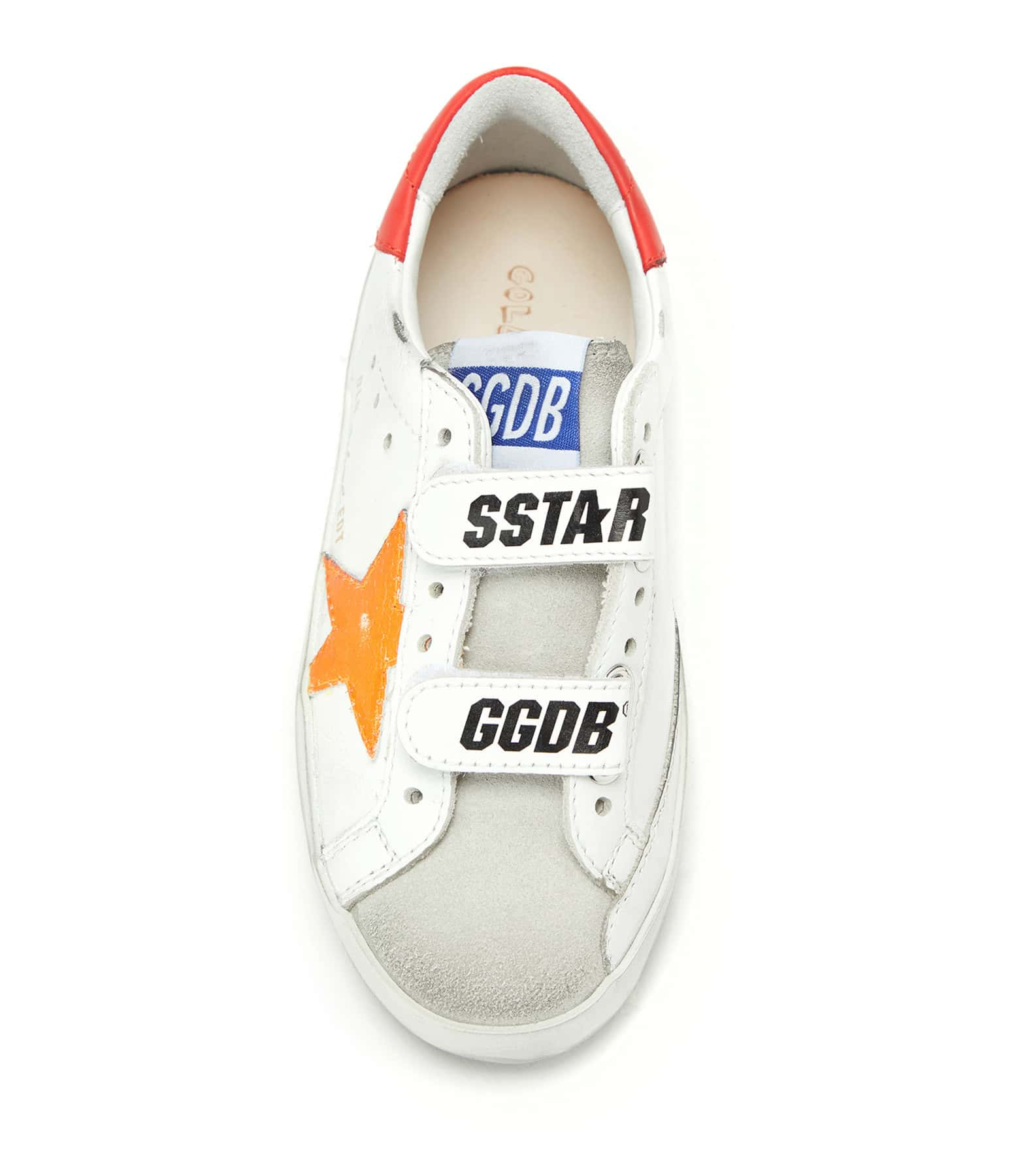 GOLDEN GOOSE - Baskets Enfant Old School Cuir Orange Fluo Cerise