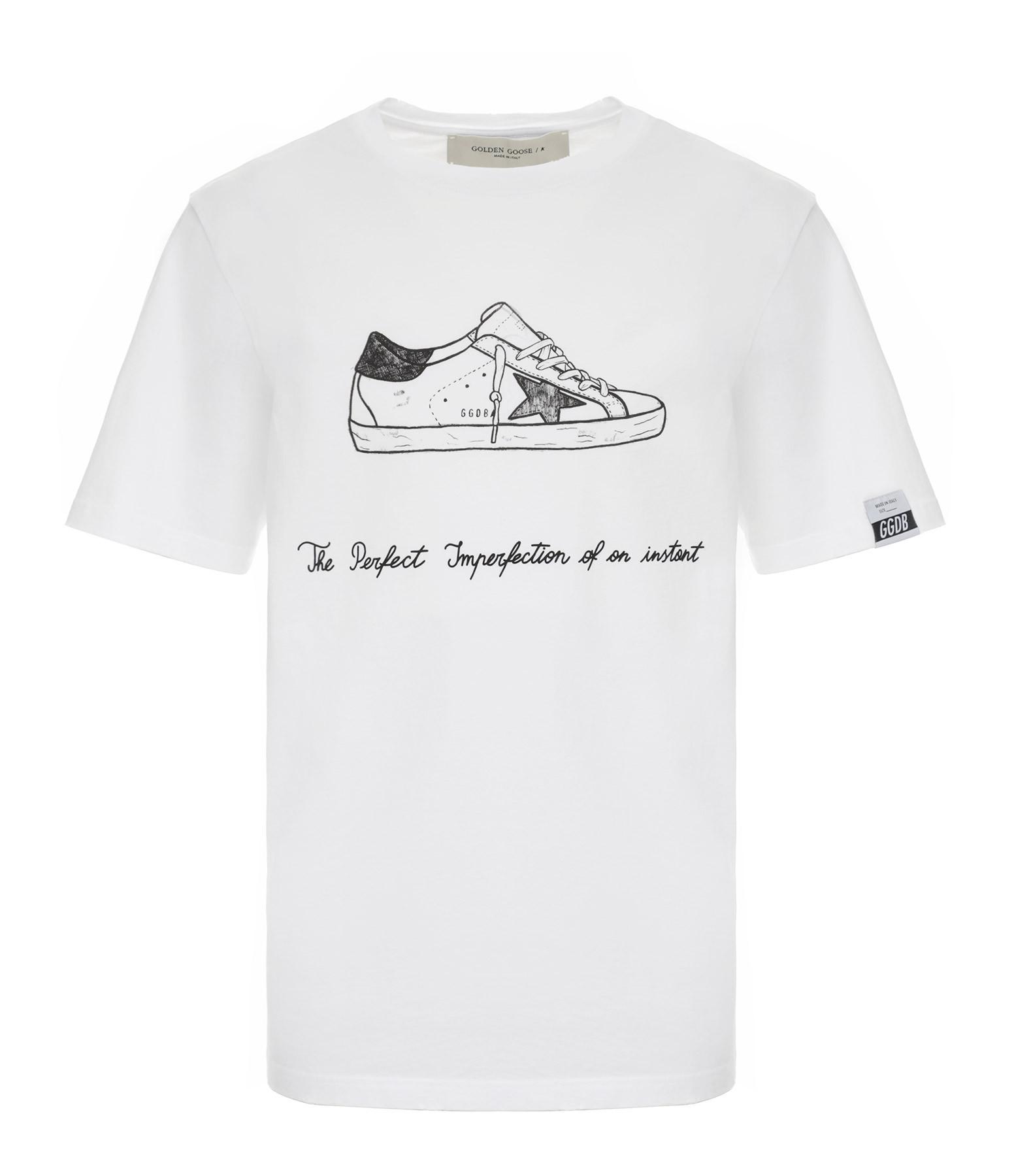 GOLDEN GOOSE - Tee-shirt Homme Adamo Superstar Coton Blanc Noir