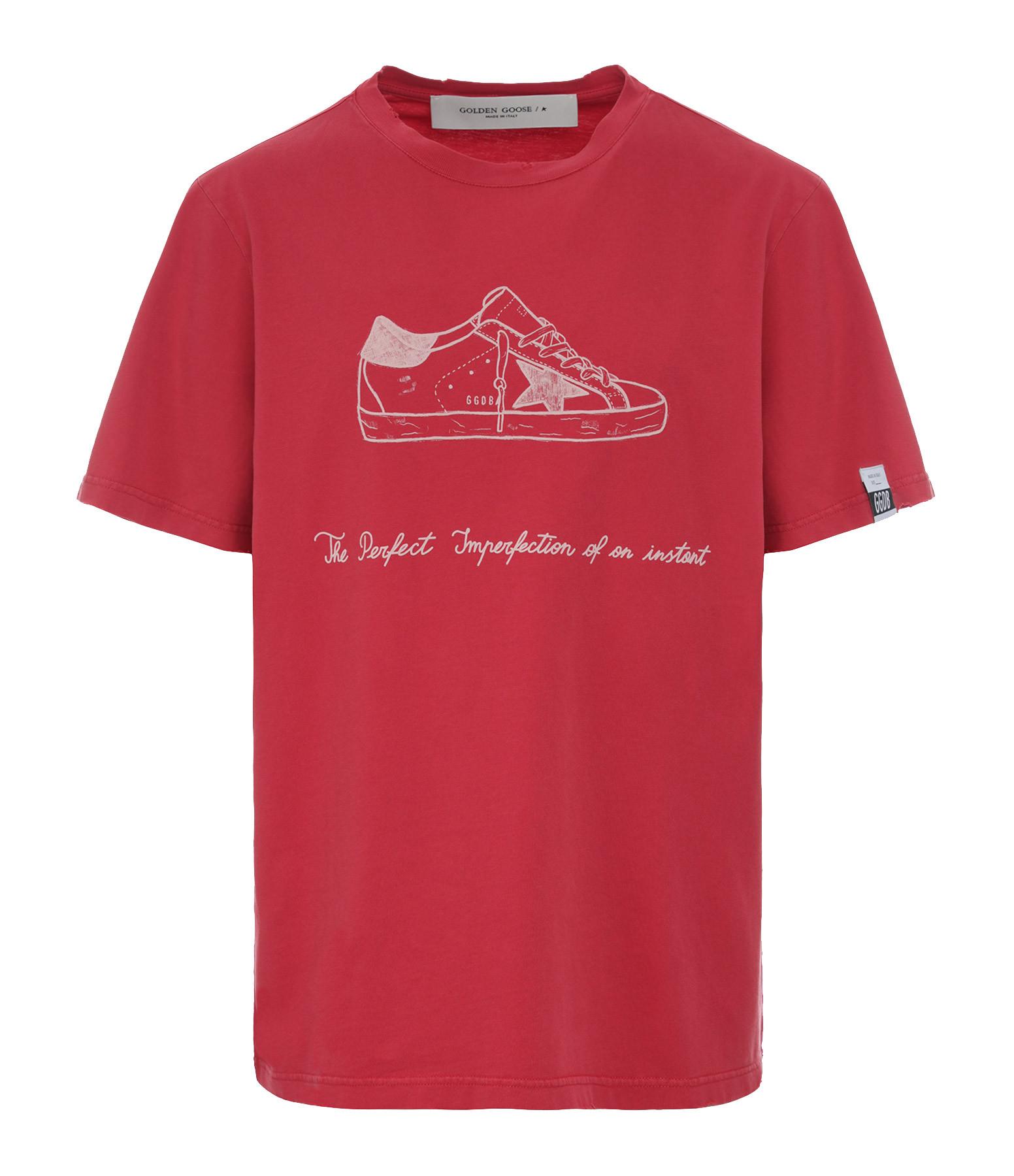GOLDEN GOOSE - Tee-shirt Homme Adamo Superstar Coton Rouge Blanc