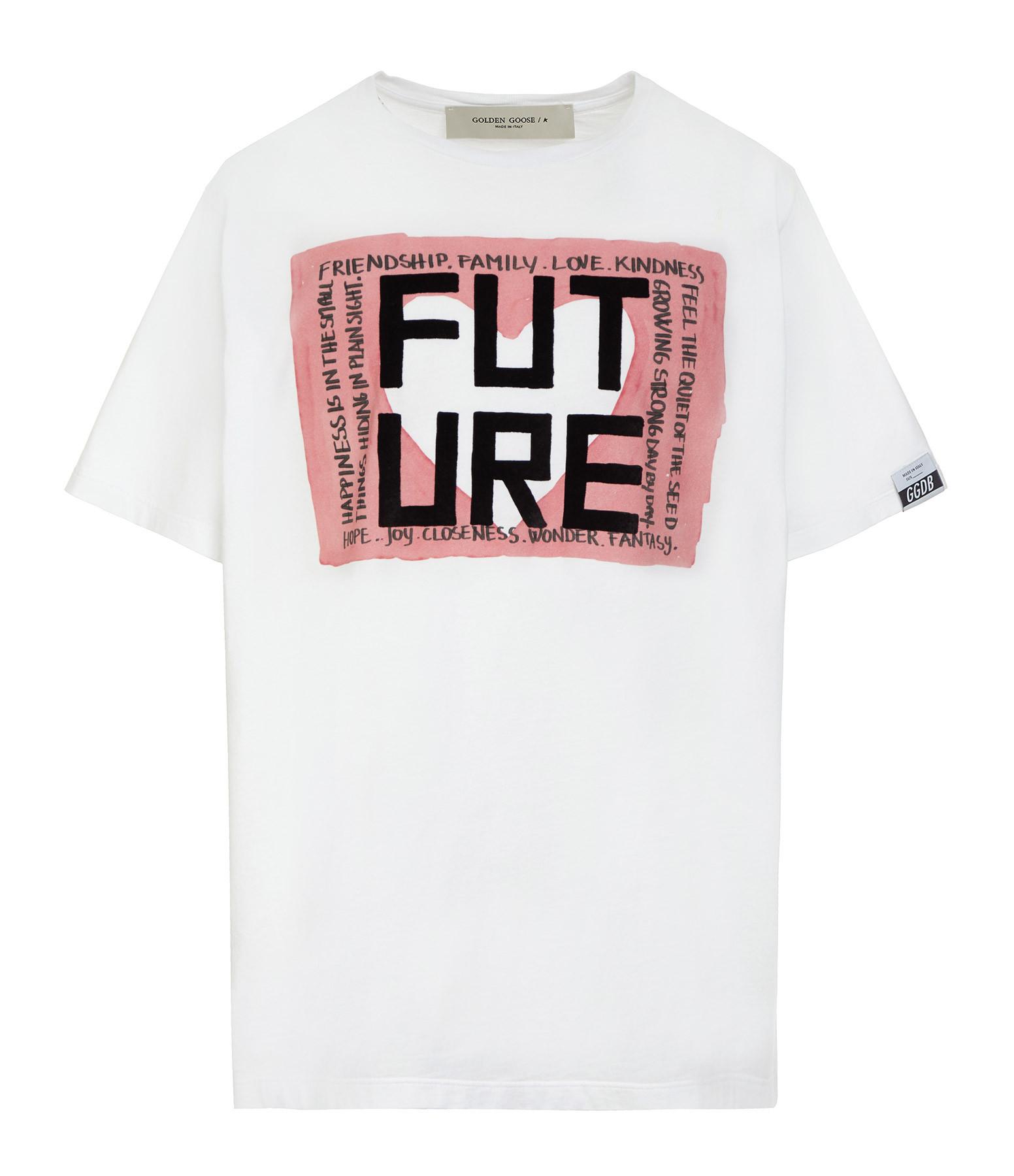 GOLDEN GOOSE - Tee-shirt Homme Adamo Future Coton Blanc