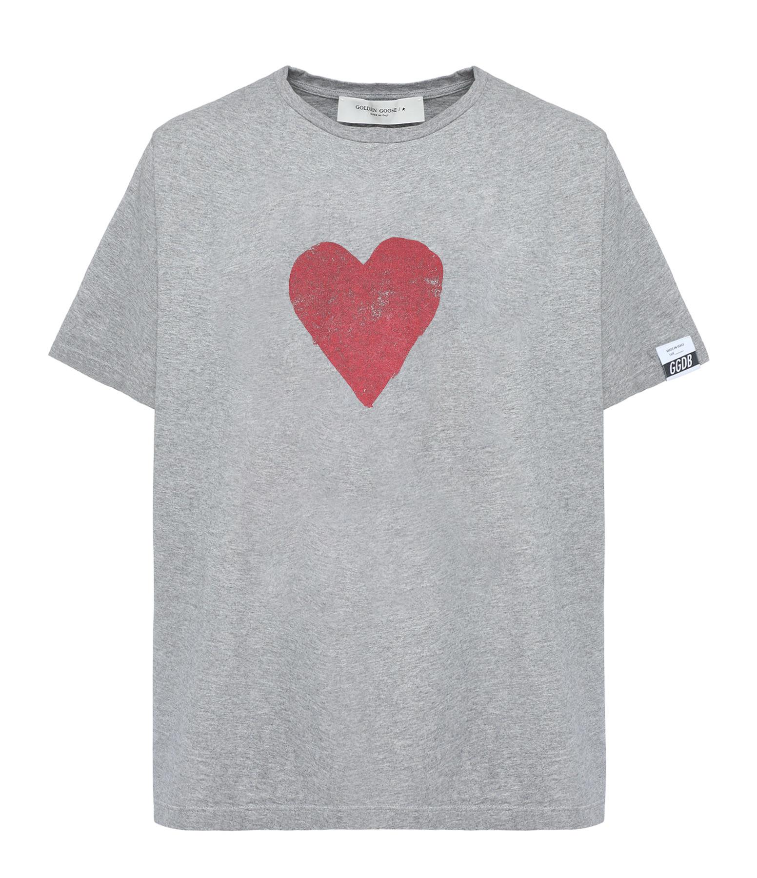 GOLDEN GOOSE - Tee-shirt Homme Artu Coeur Coton Rouge Gris