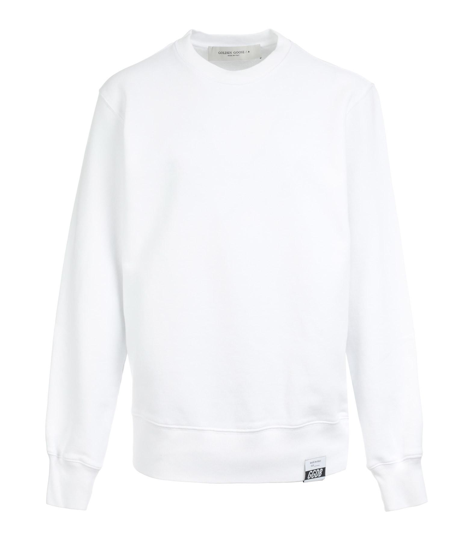 GOLDEN GOOSE - Sweatshirt Homme Archibald Golden Rethink Coton Blanc
