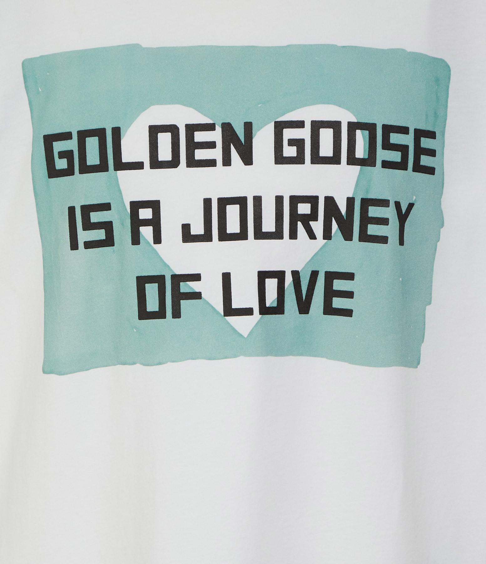 GOLDEN GOOSE - Tee-shirt Aira Journey of Love Coton Blanc