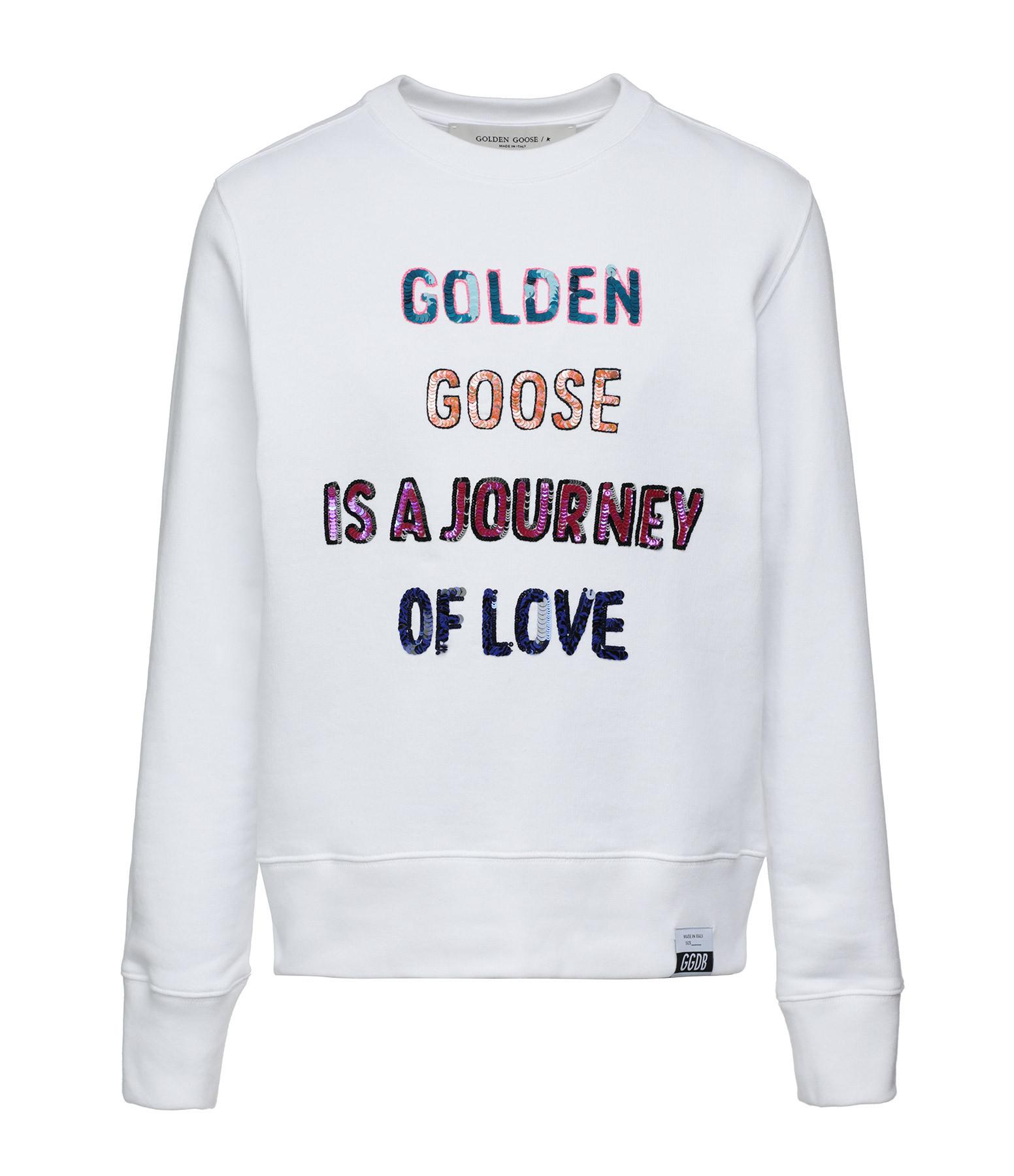 GOLDEN GOOSE - Sweatshirt Athena Journet of Love Coton Blanc