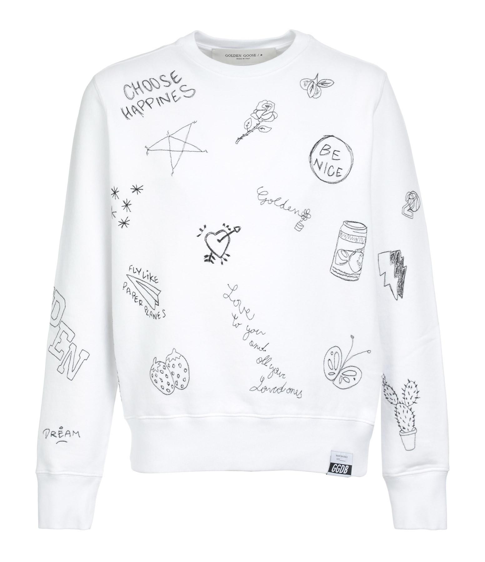 GOLDEN GOOSE - Sweatshirt Athena Broderie Coton Blanc