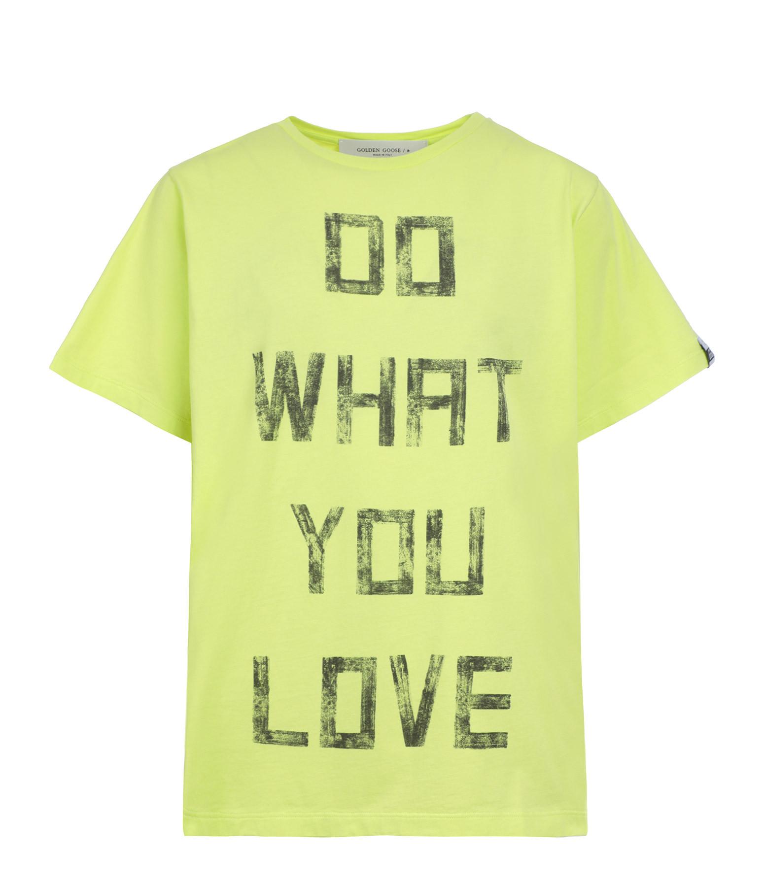 GOLDEN GOOSE - Tee-shirt Aira Do What You Love Coton Jaune