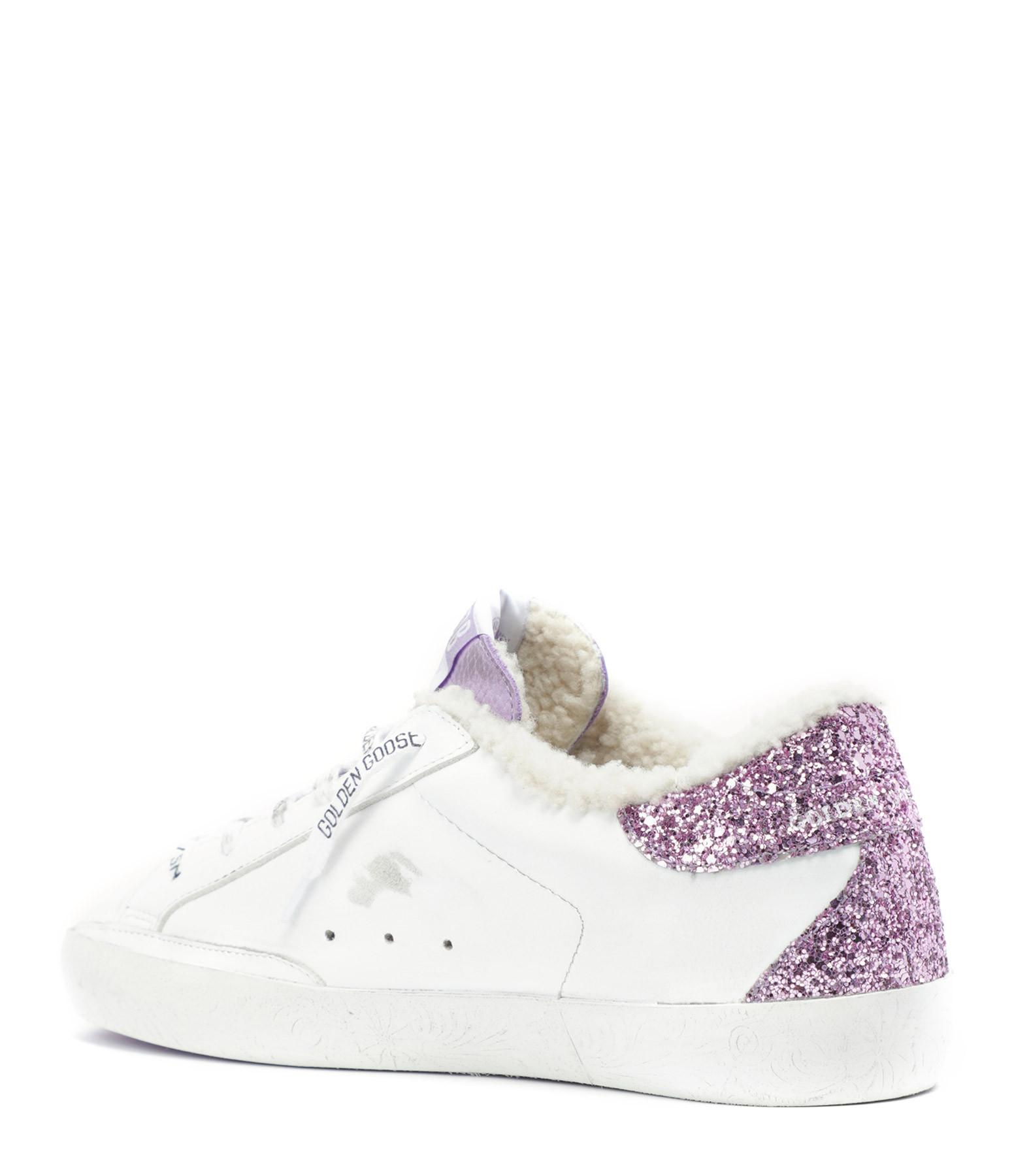 GOLDEN GOOSE - Baskets Superstar Mouton Cuir Nubuck Blanc Glitter Violet