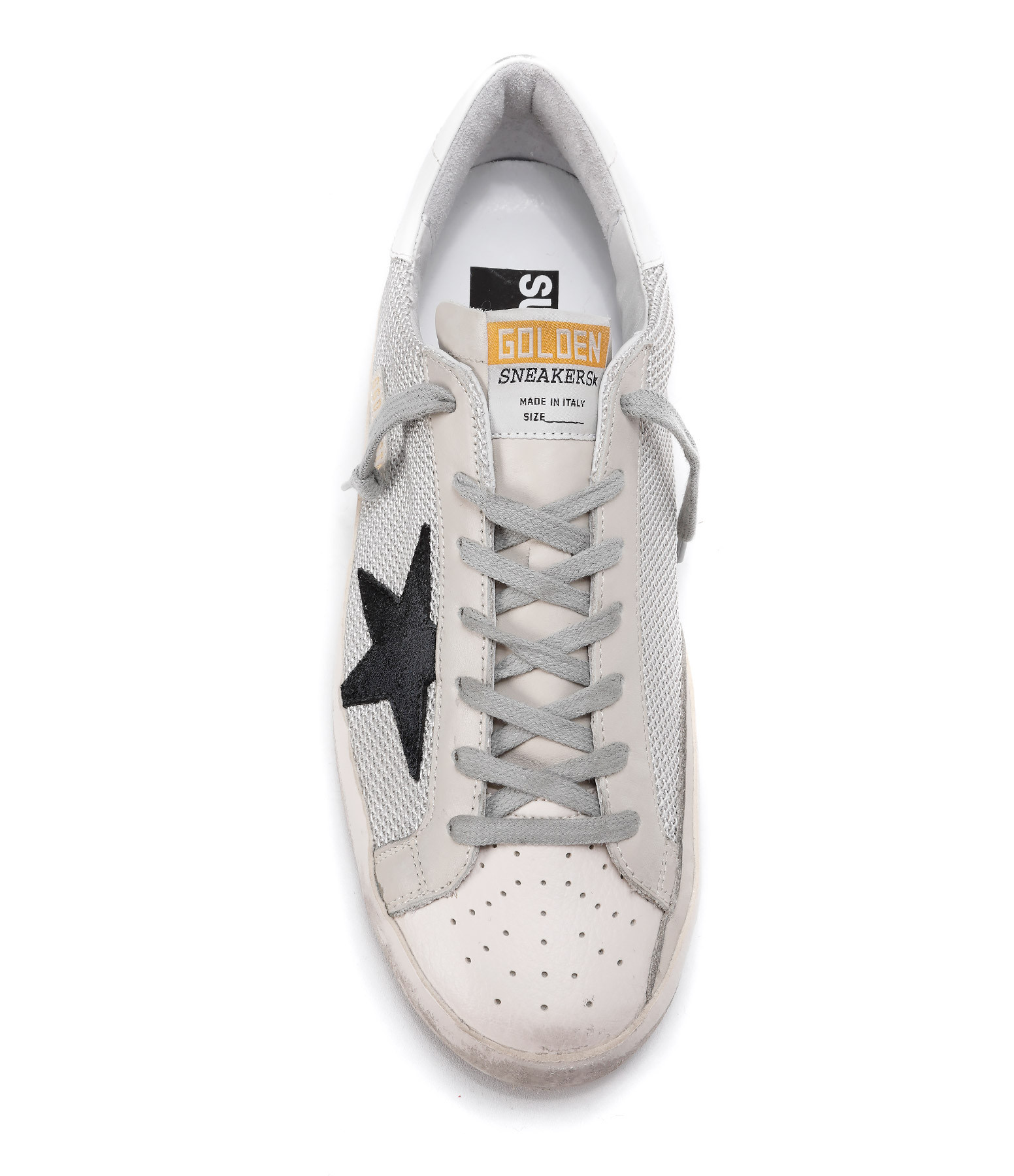 GOLDEN GOOSE - Baskets Sneakers Homme Superstar Cuir Grey Cord Gum