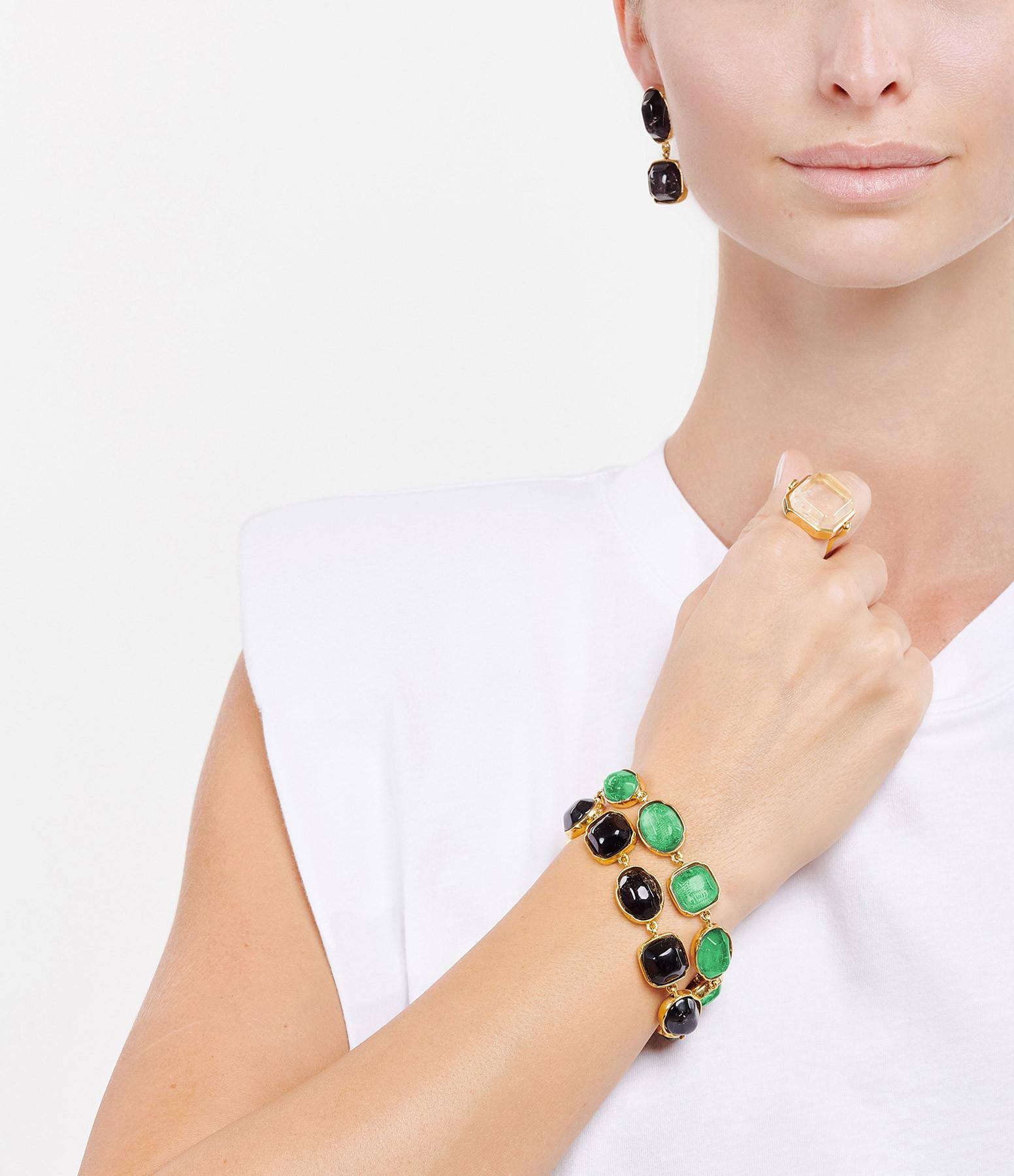 GOOSSENS - Bracelet Cabochons Vert Émeraude